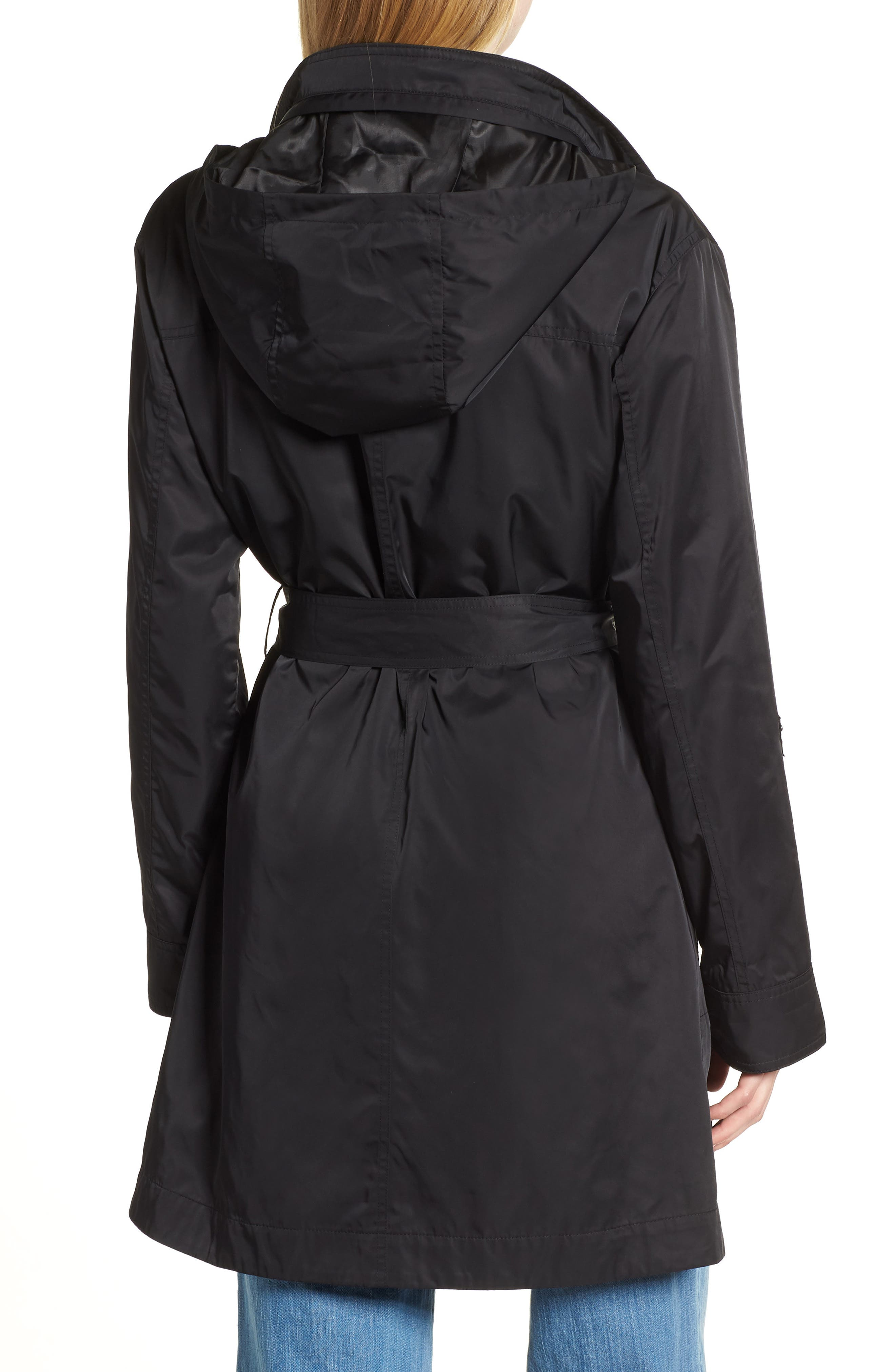HALOGEN<SUP>®</SUP>,                             Lightweight Trench Coat,                             Alternate thumbnail 2, color,                             BLACK