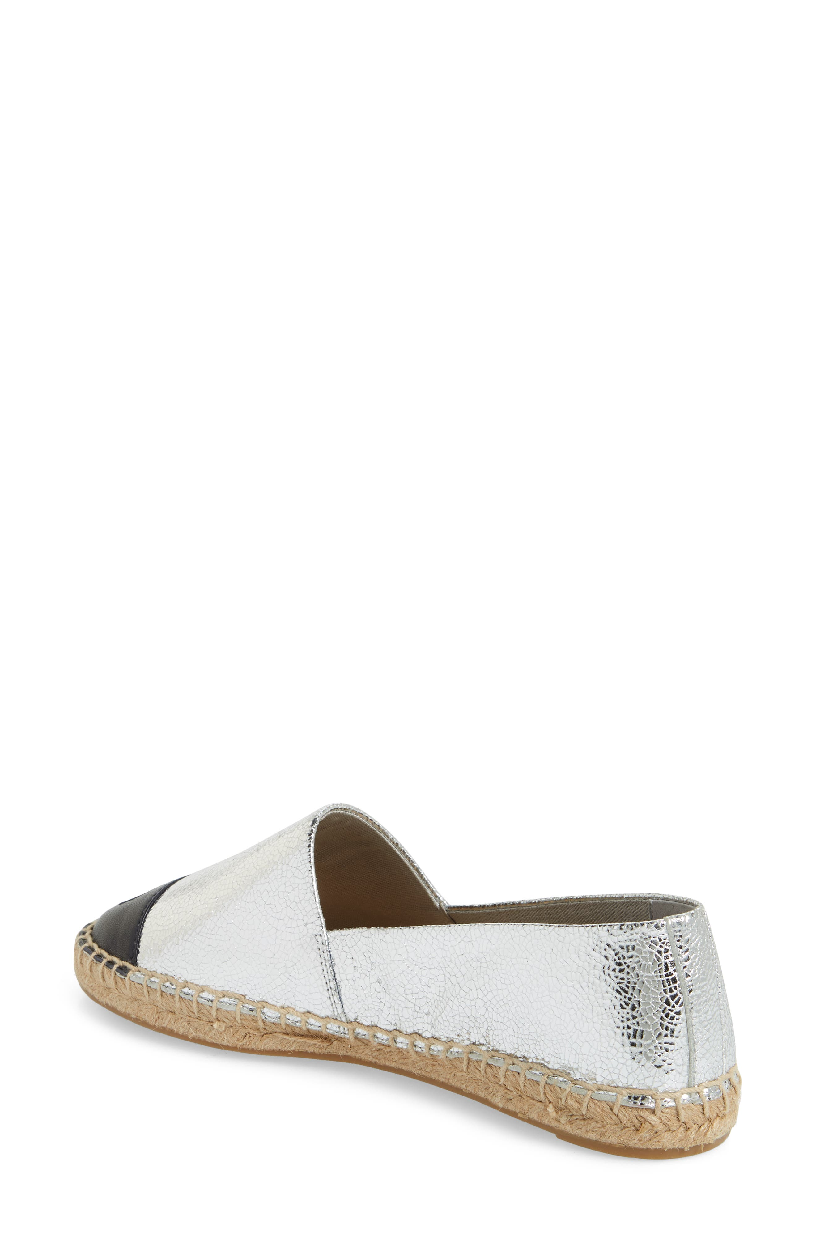 Colorblock Espadrille Flat,                             Alternate thumbnail 3, color,                             SILVER/ TORY NAVY