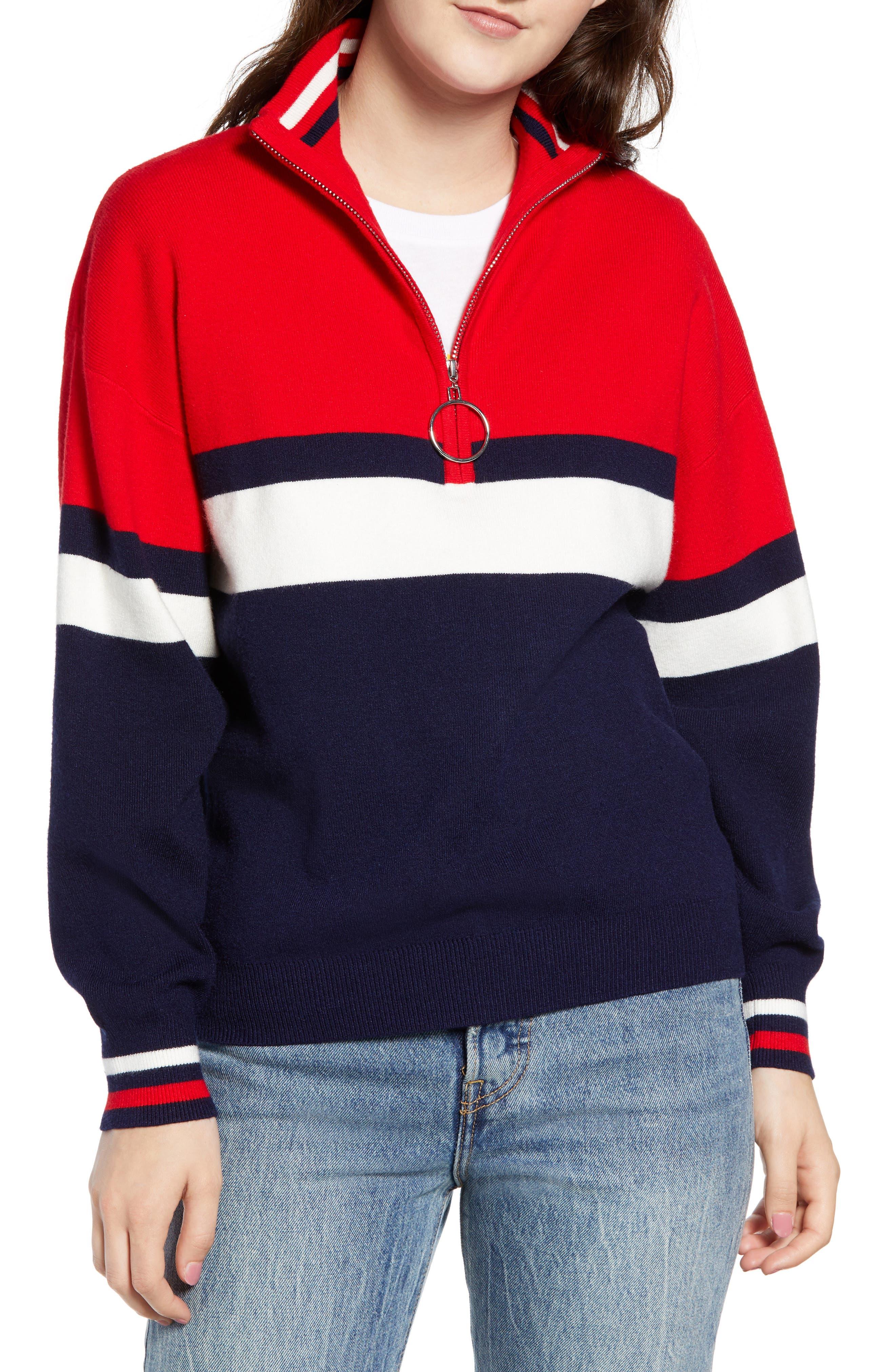 Stripe Half Zip Pullover,                             Main thumbnail 1, color,                             NAVY