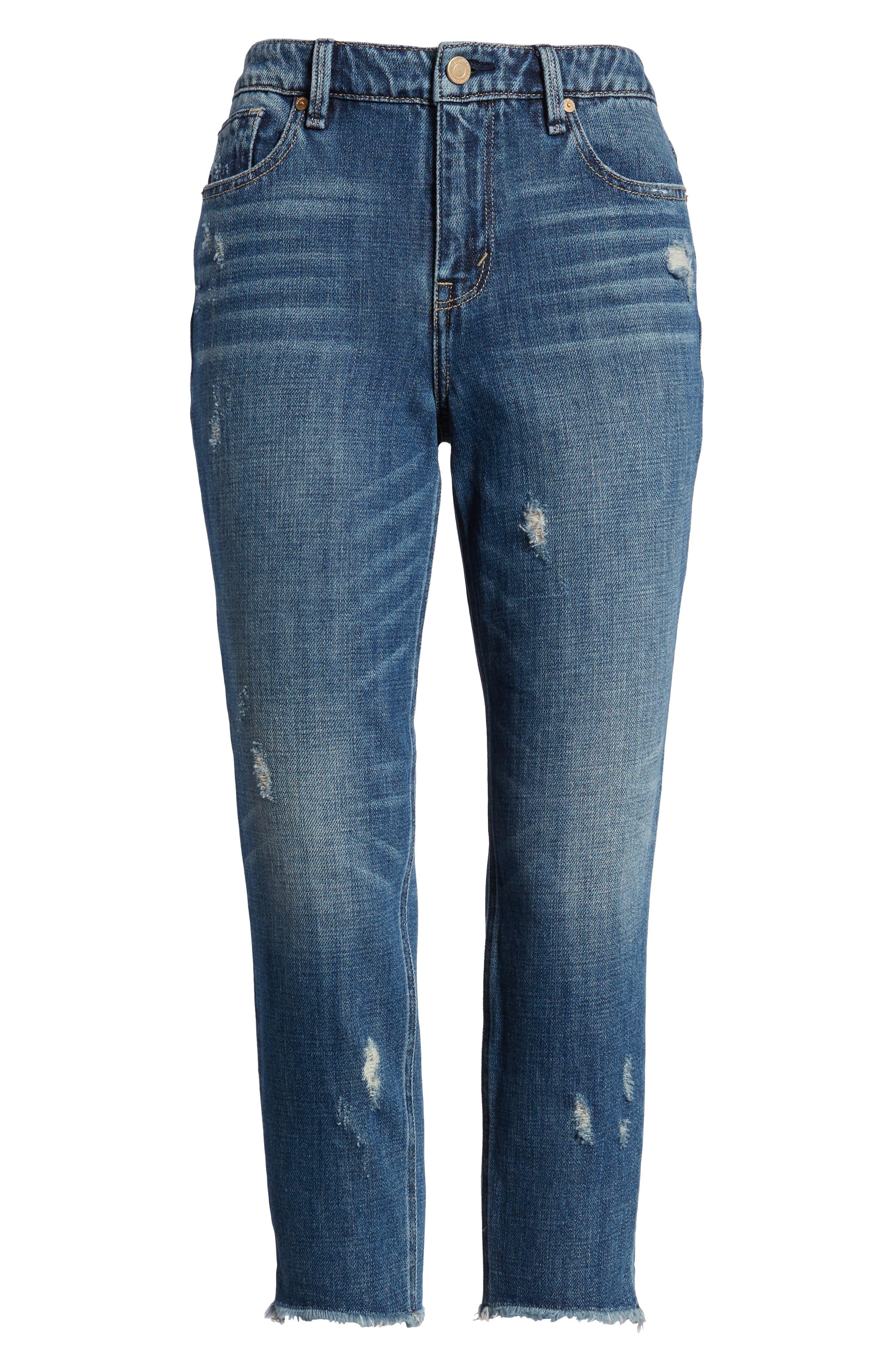 Vale Slant Fray Hem Jeans,                             Alternate thumbnail 7, color,                             401