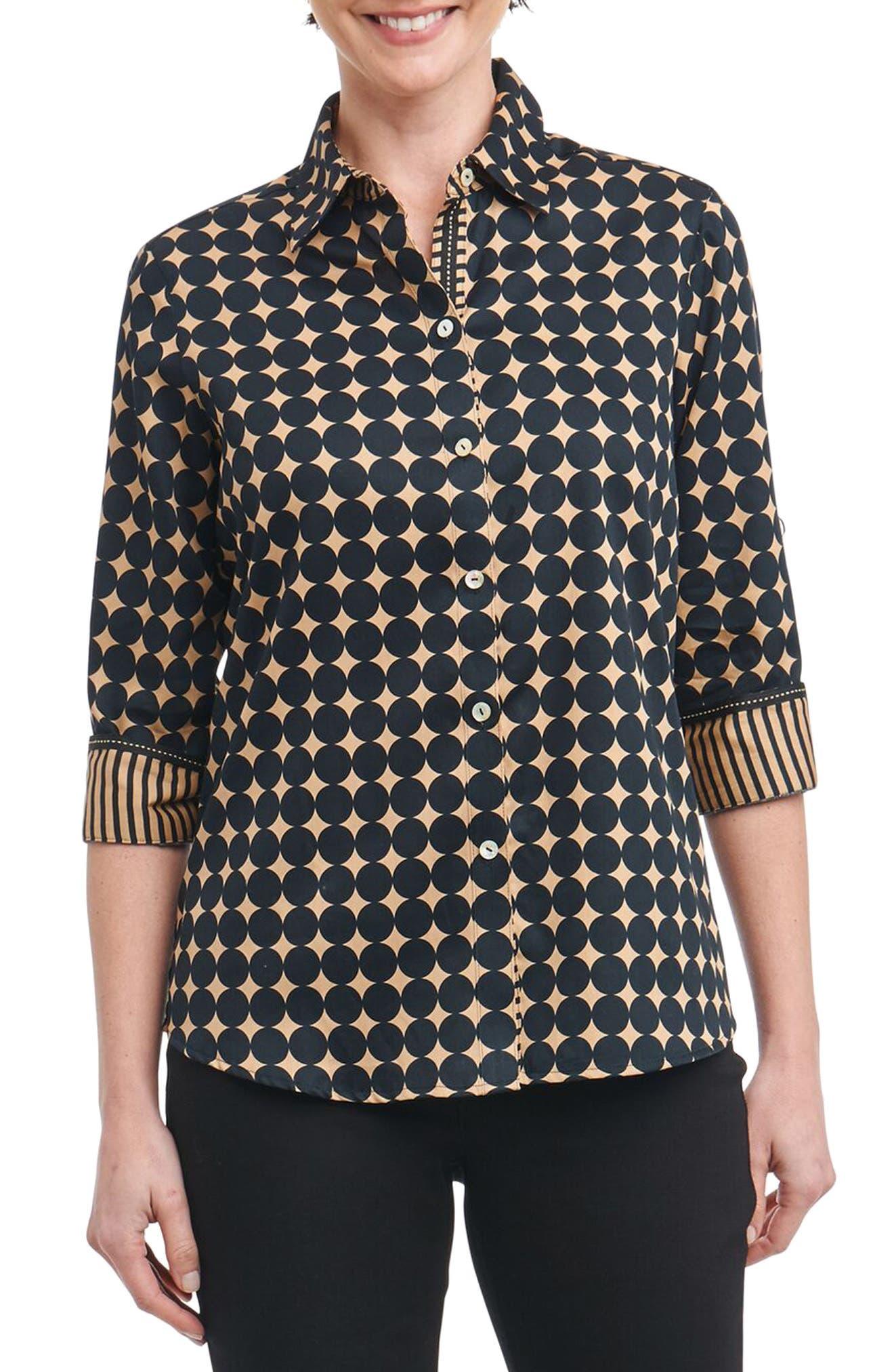 Ava Non-Iron Dot Print Cotton Shirt,                         Main,                         color, 013