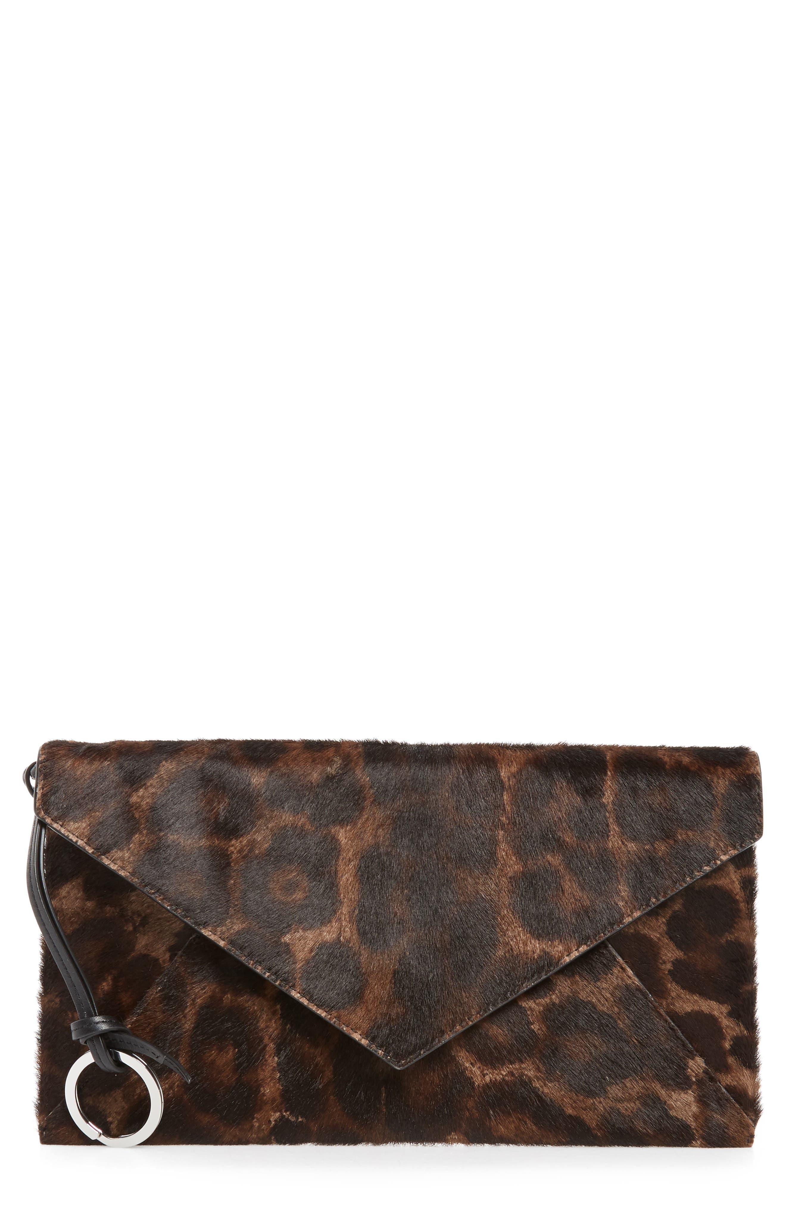Voltaire Large Envelope Genuine Calf Hair Clutch,                         Main,                         color, LEOPARD/ BLACK