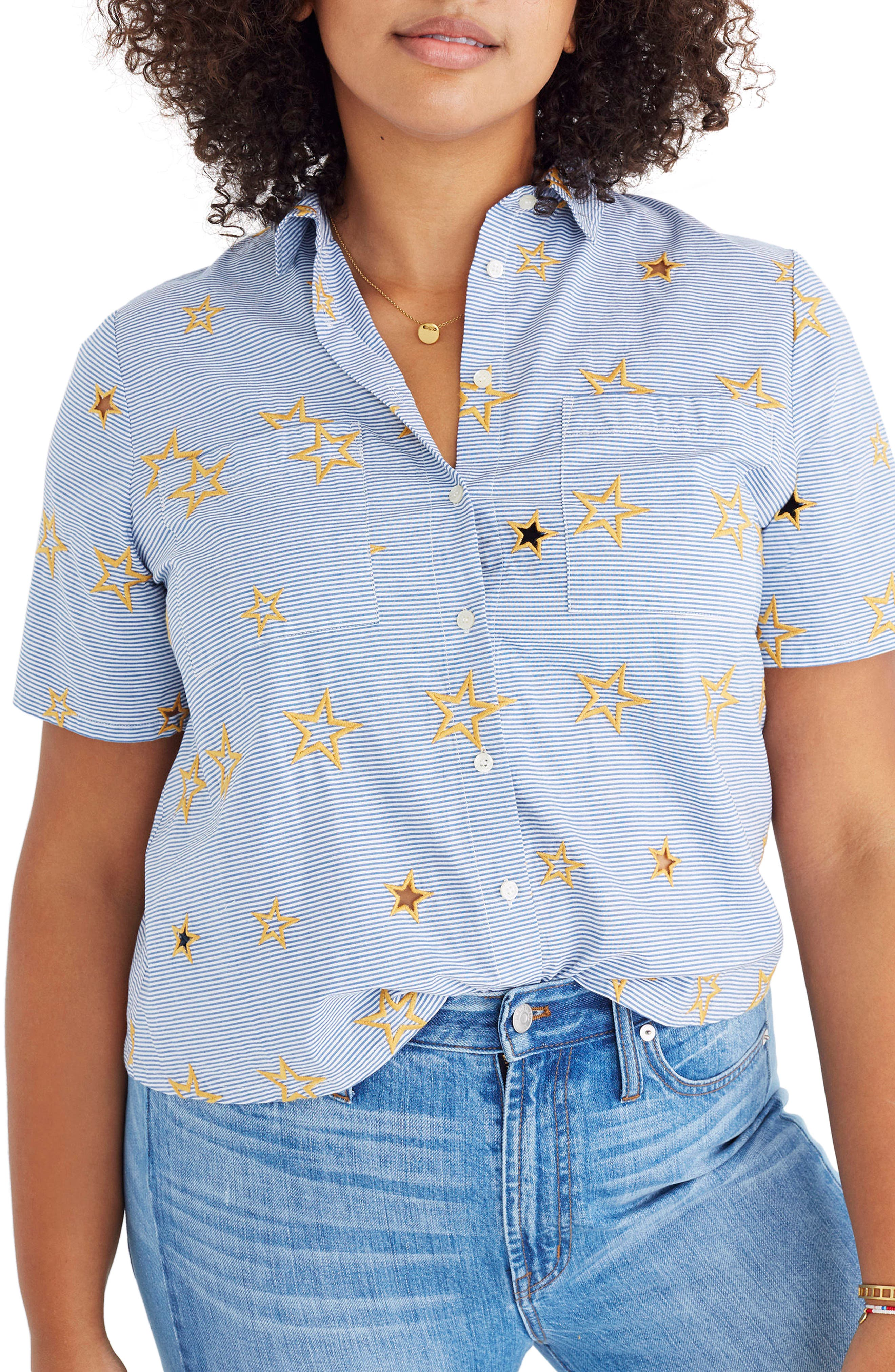 Star Embroidered Stripe Shirt,                             Alternate thumbnail 2, color,                             400