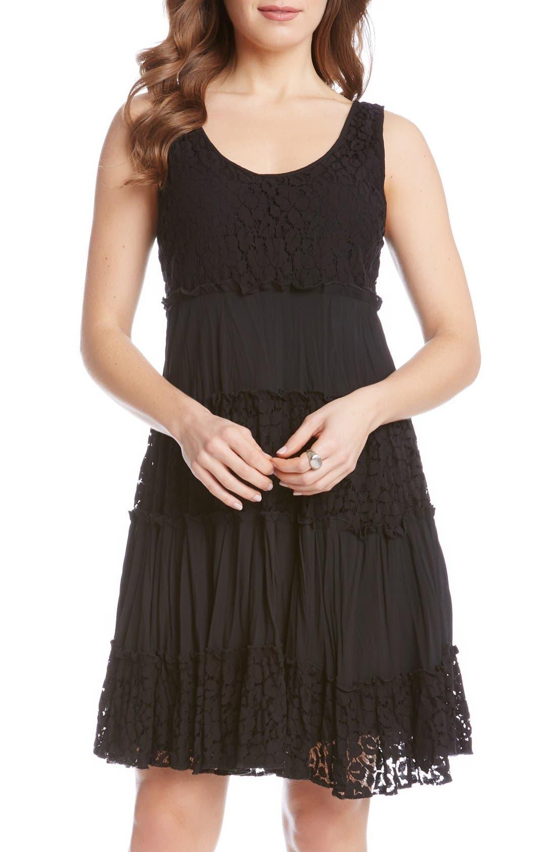 'Tara' Tiered Lace A-Line Dress,                             Main thumbnail 1, color,                             001