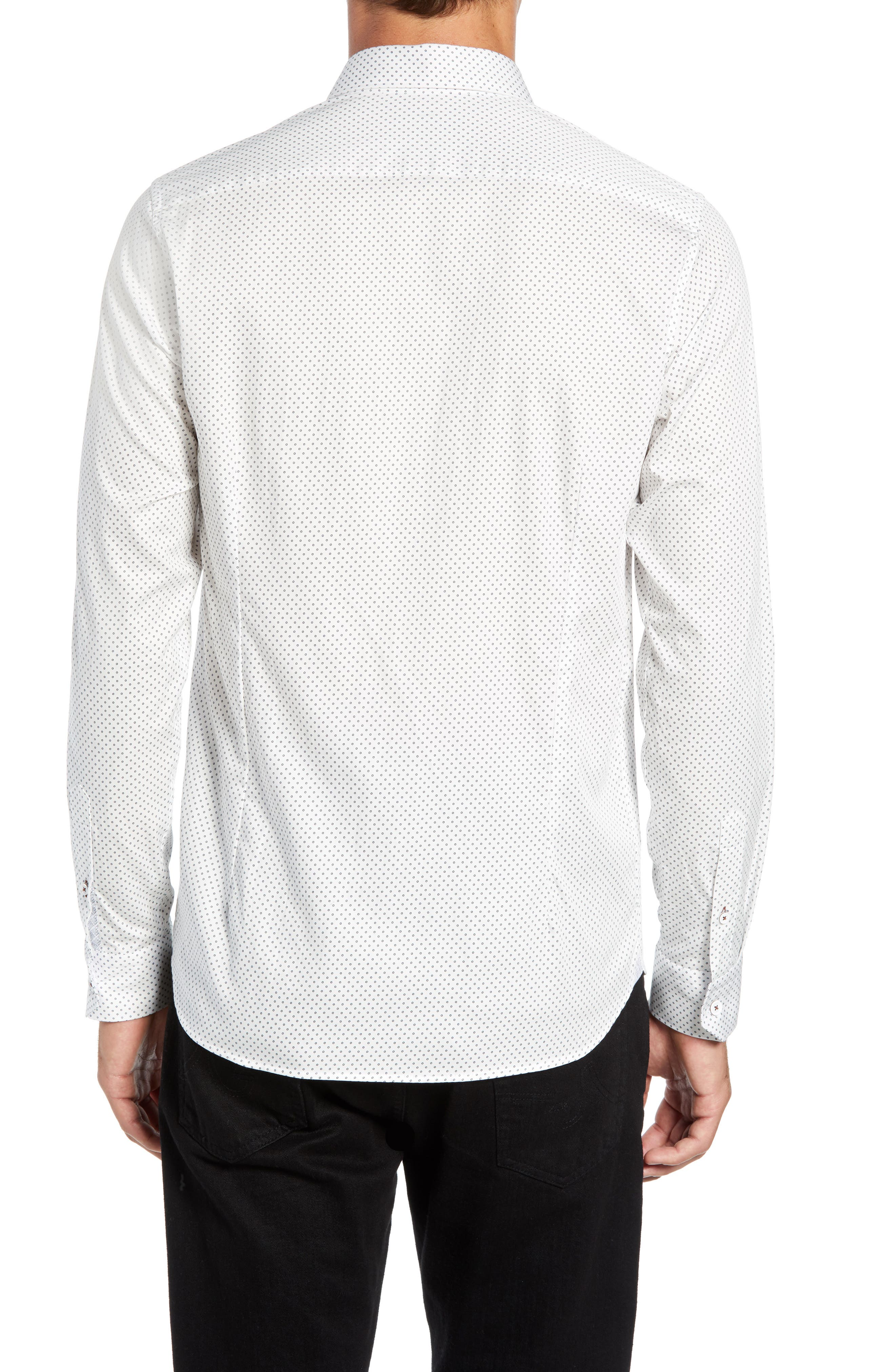 Waterloo Trim Fit Geo Print Sport Shirt,                             Alternate thumbnail 3, color,                             100
