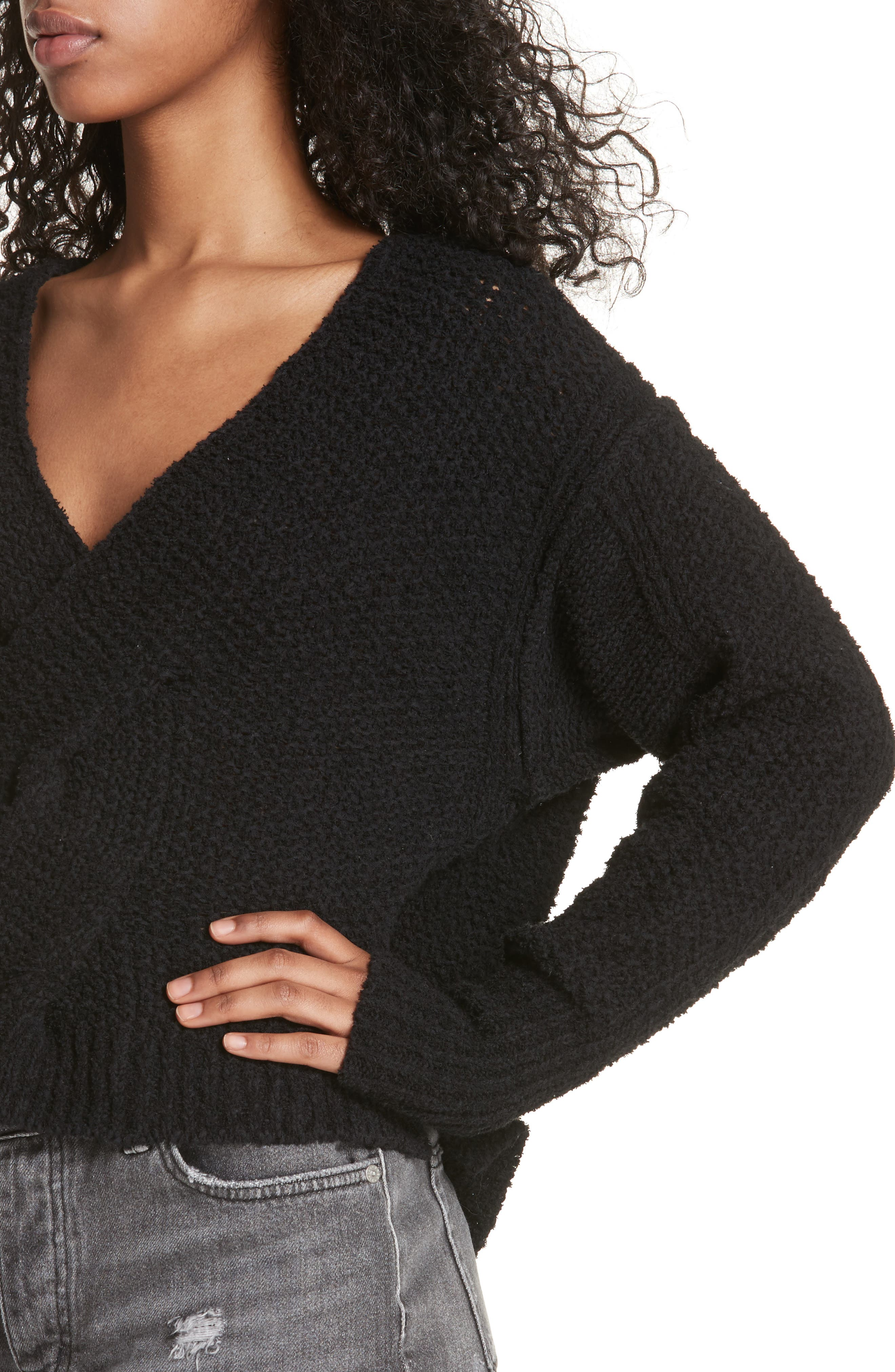 Coco V-Neck Sweater,                             Alternate thumbnail 4, color,                             001
