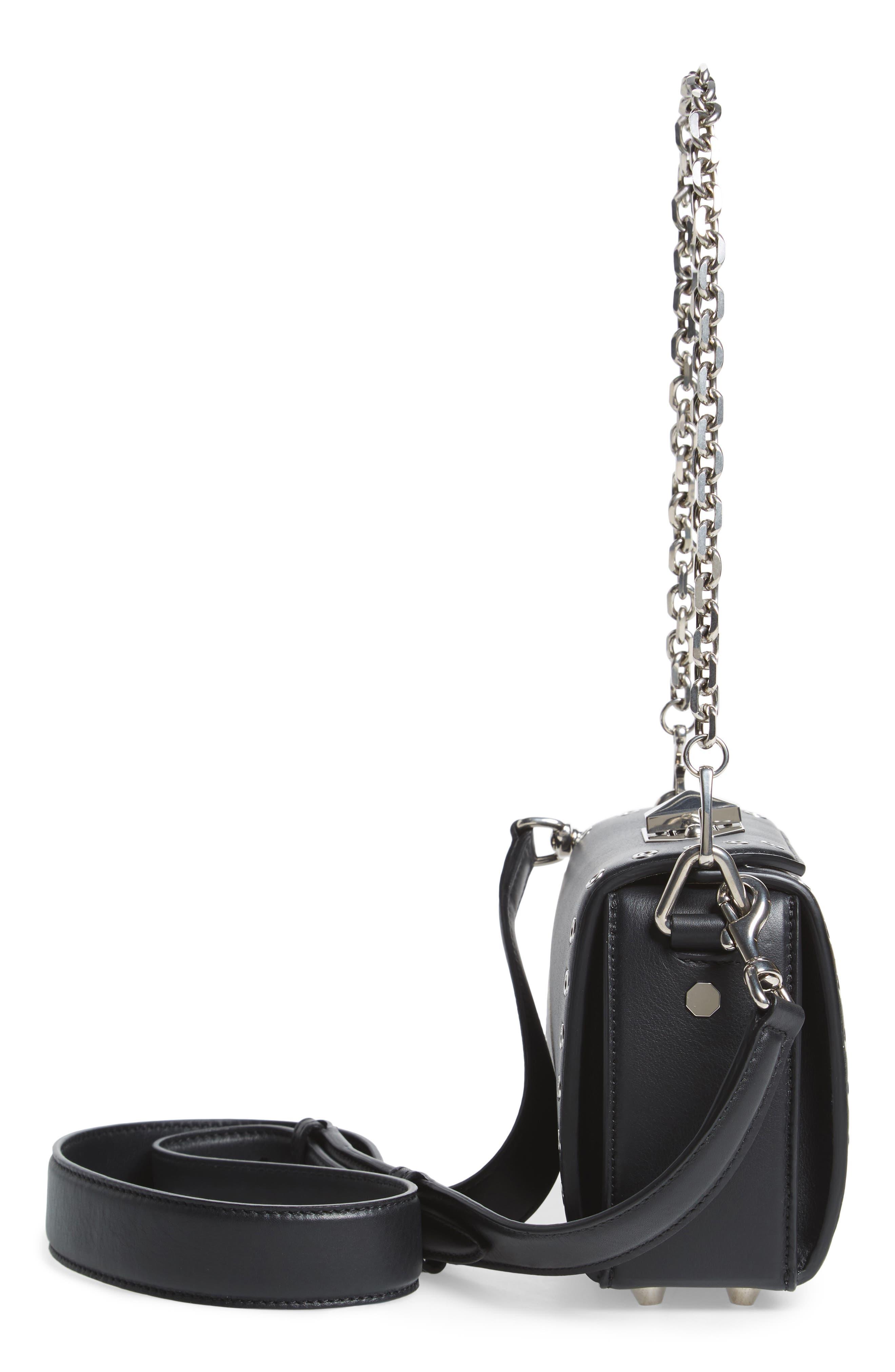 Mini Box Grommet Leather Bag,                             Alternate thumbnail 5, color,                             001