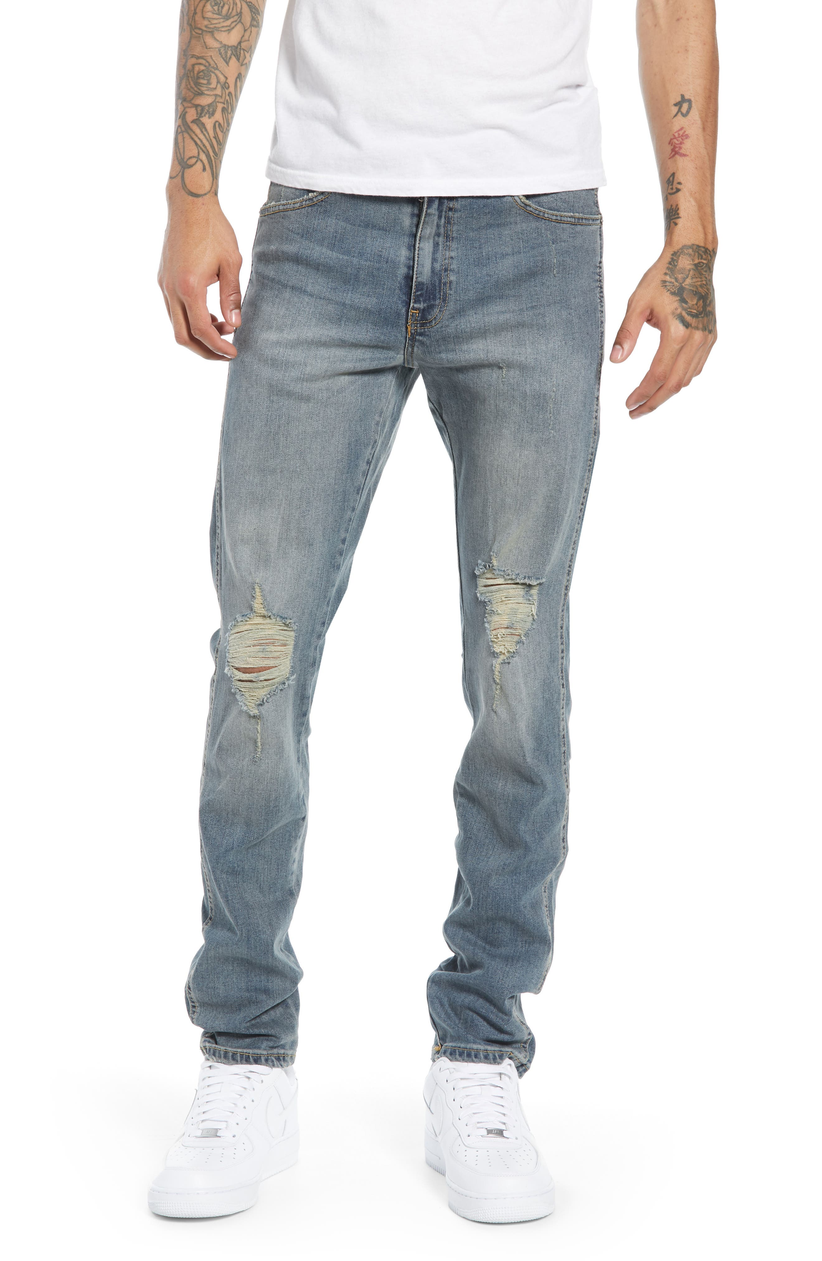 Snap Skinny Fit Jeans,                             Main thumbnail 1, color,                             LIGHT OLD DESTROY