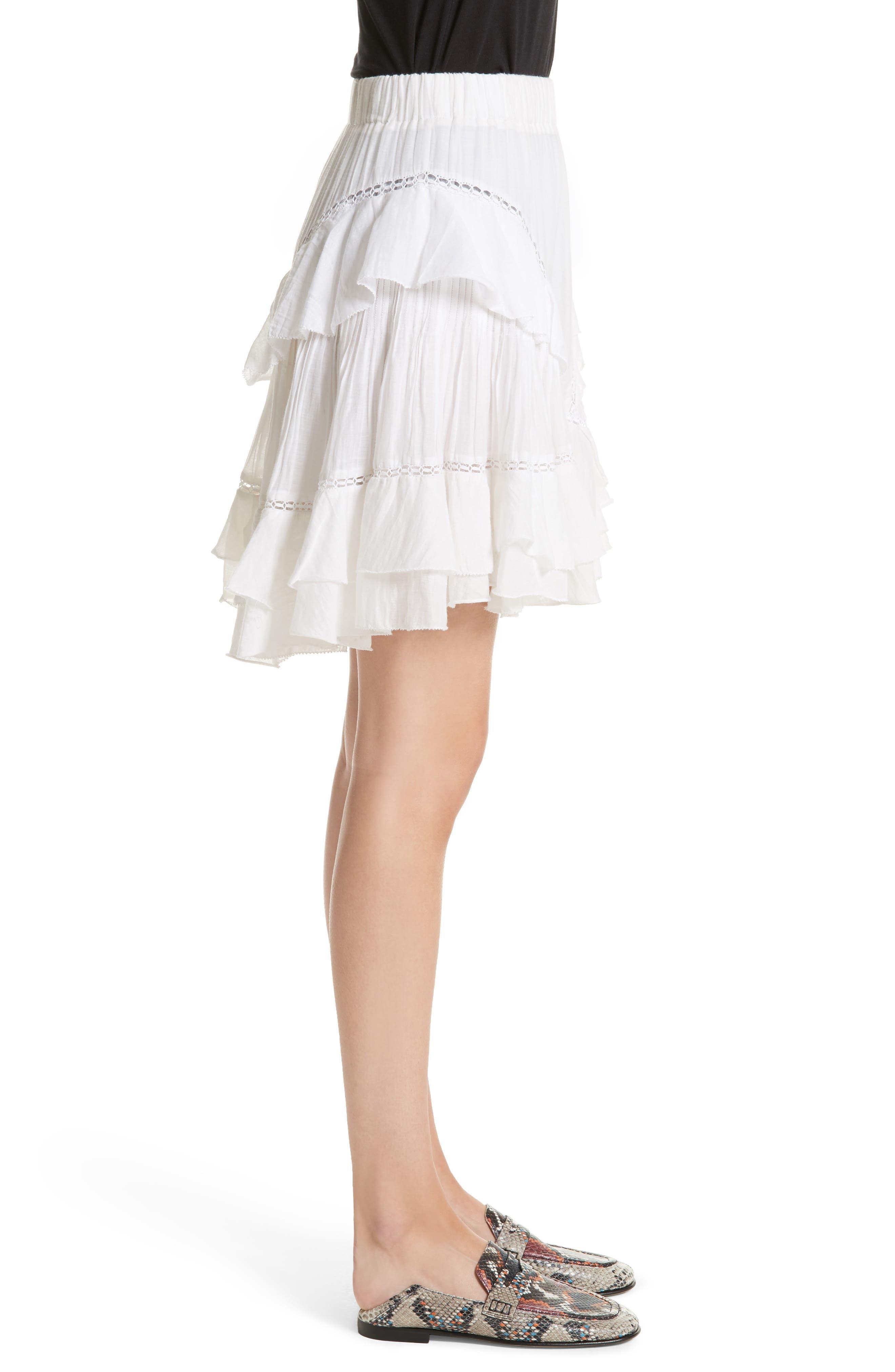 Isabel Marant Étoile Varese Ruffle Skirt,                             Alternate thumbnail 3, color,                             100