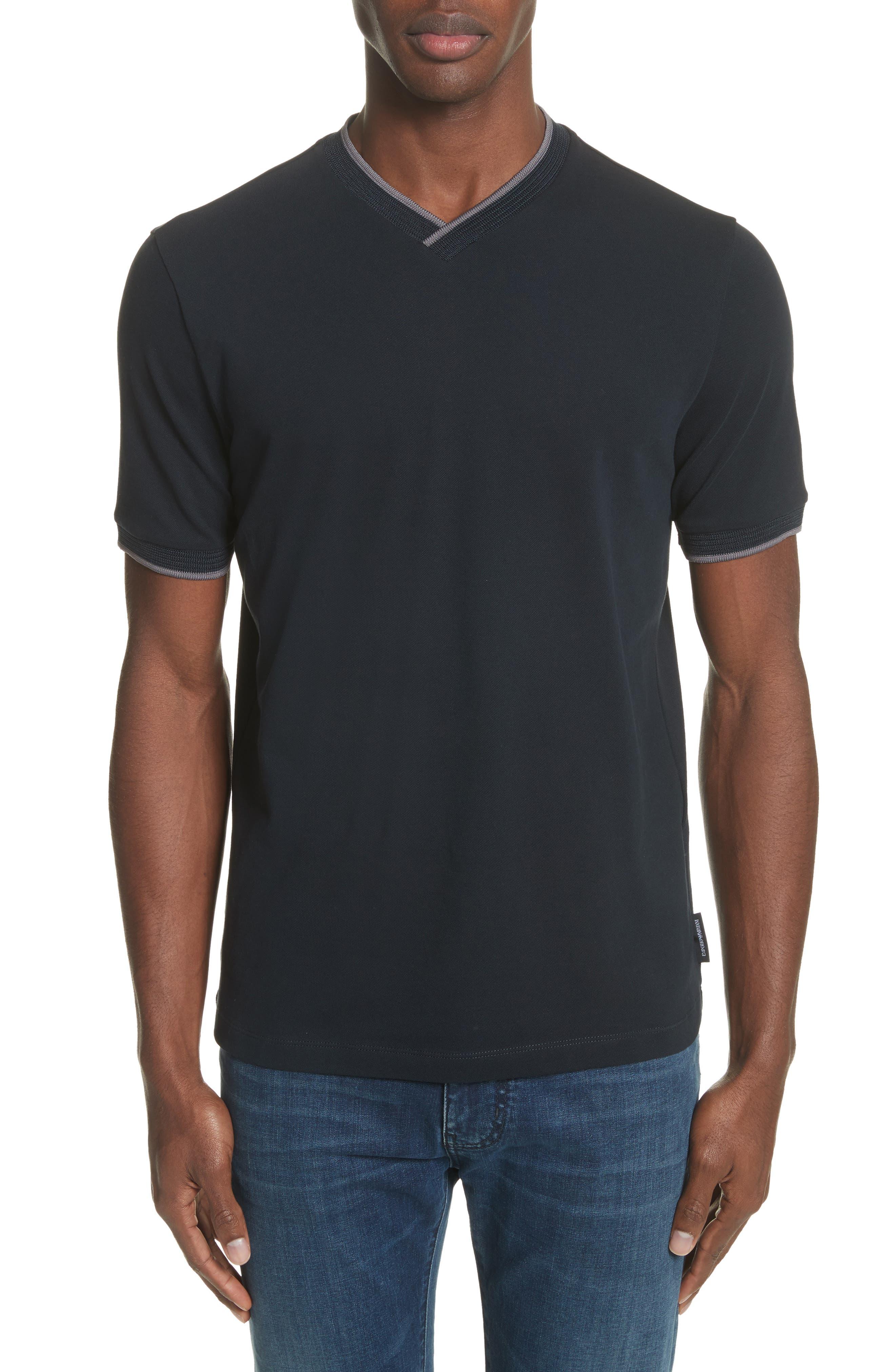 Slim Fit V-Neck Piqué T-Shirt,                         Main,                         color, 414