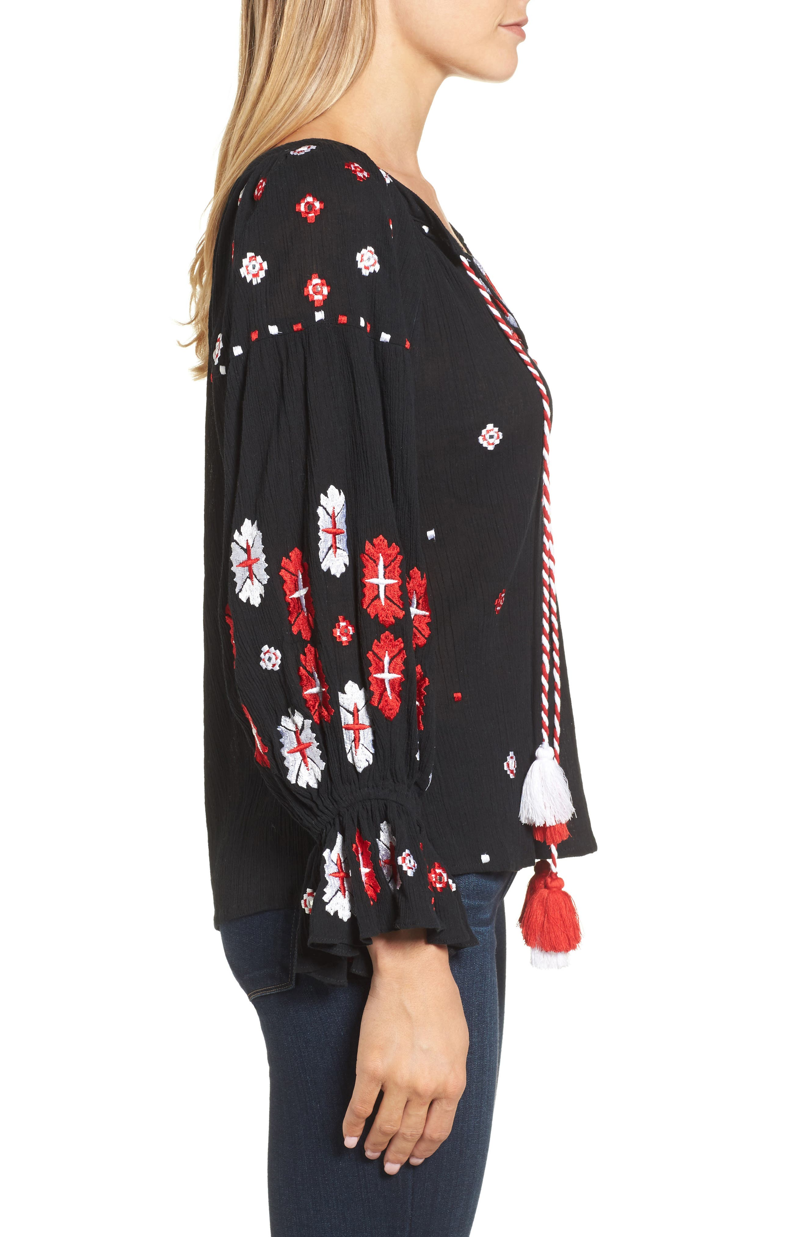 Myra Hand Embroidered Blouse,                             Alternate thumbnail 3, color,                             001