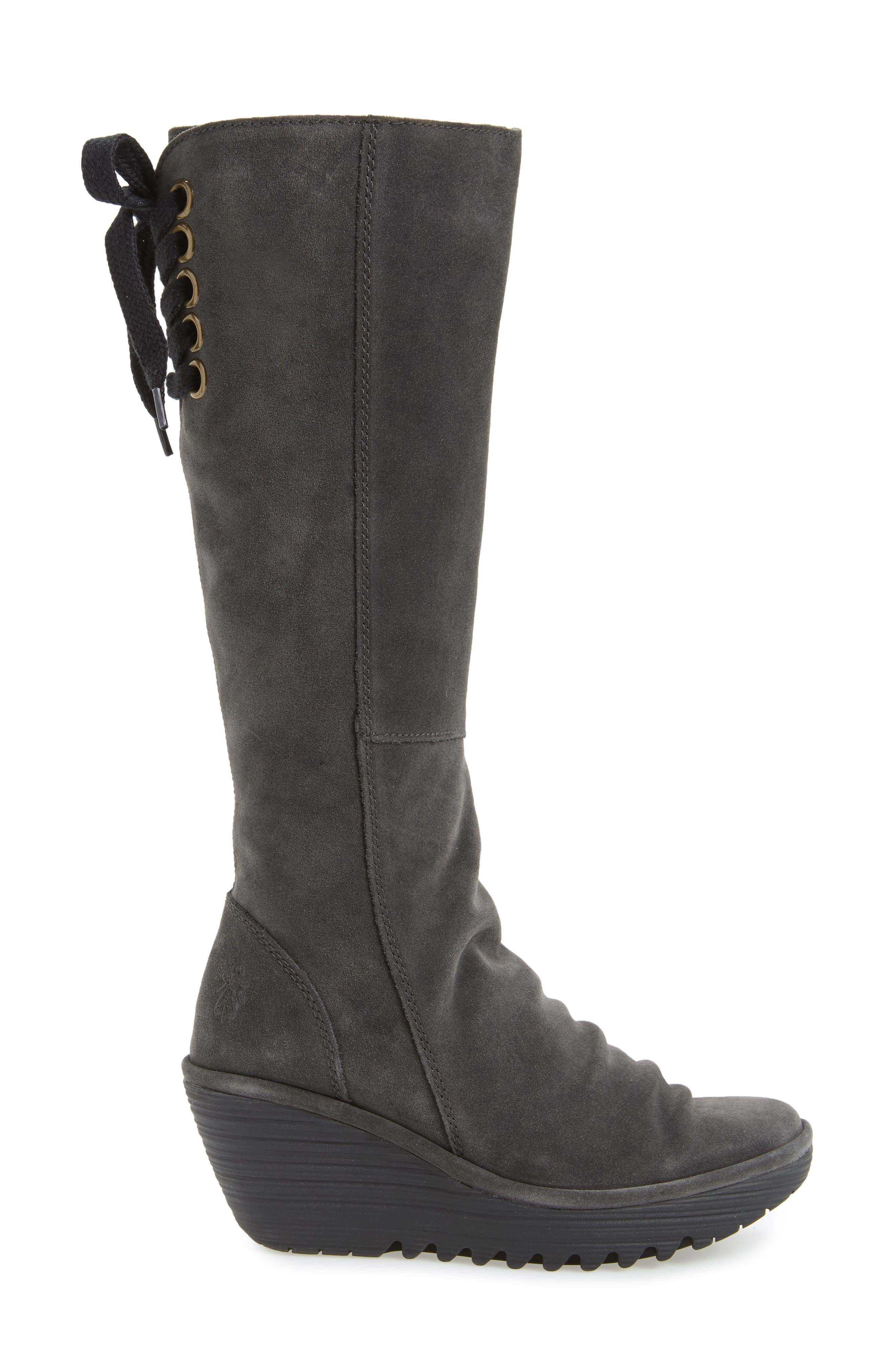 'Yust' Knee High Platform Wedge Boot,                             Alternate thumbnail 3, color,                             002