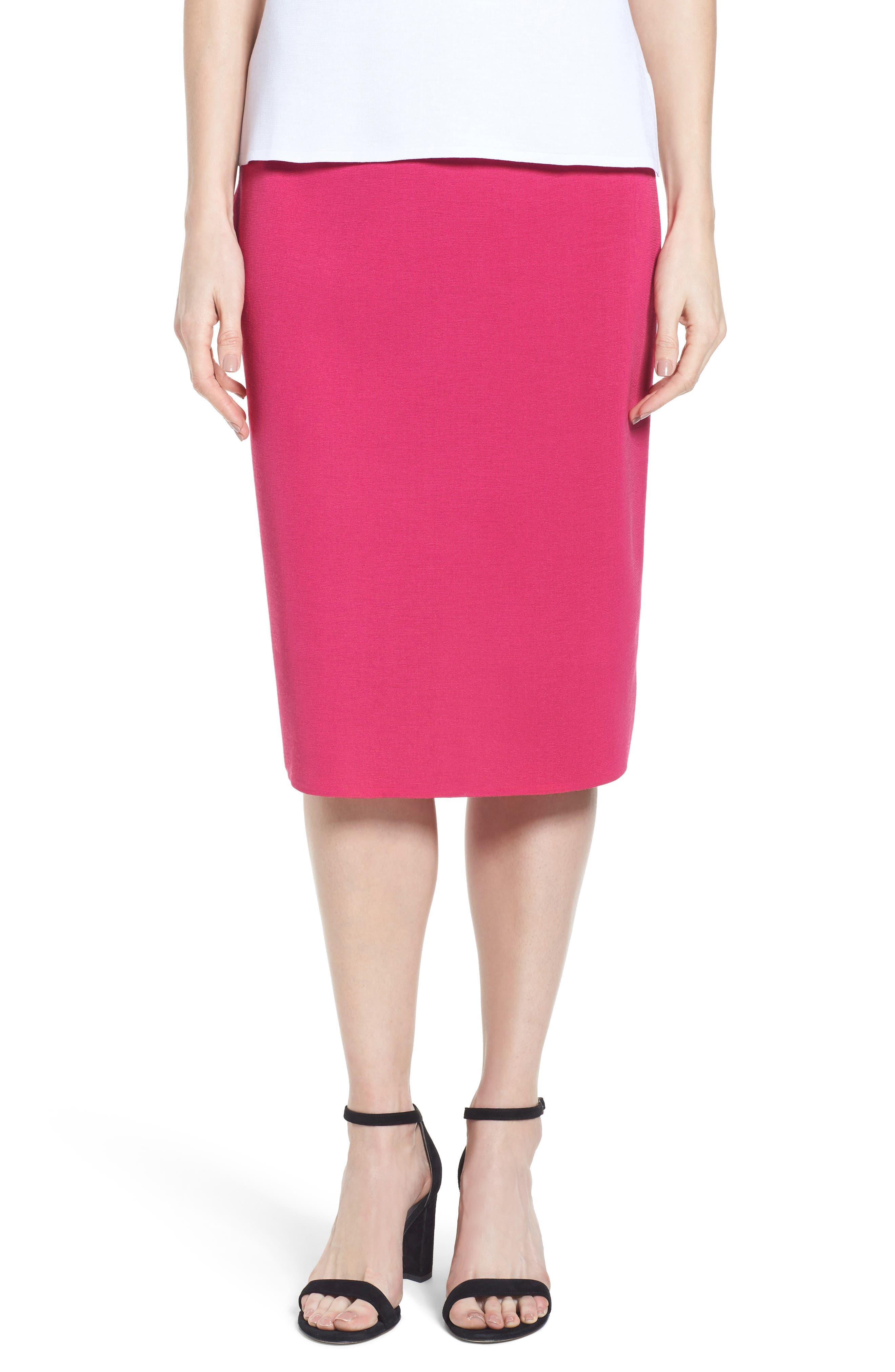 Ming Wang Straight Skirt, Red