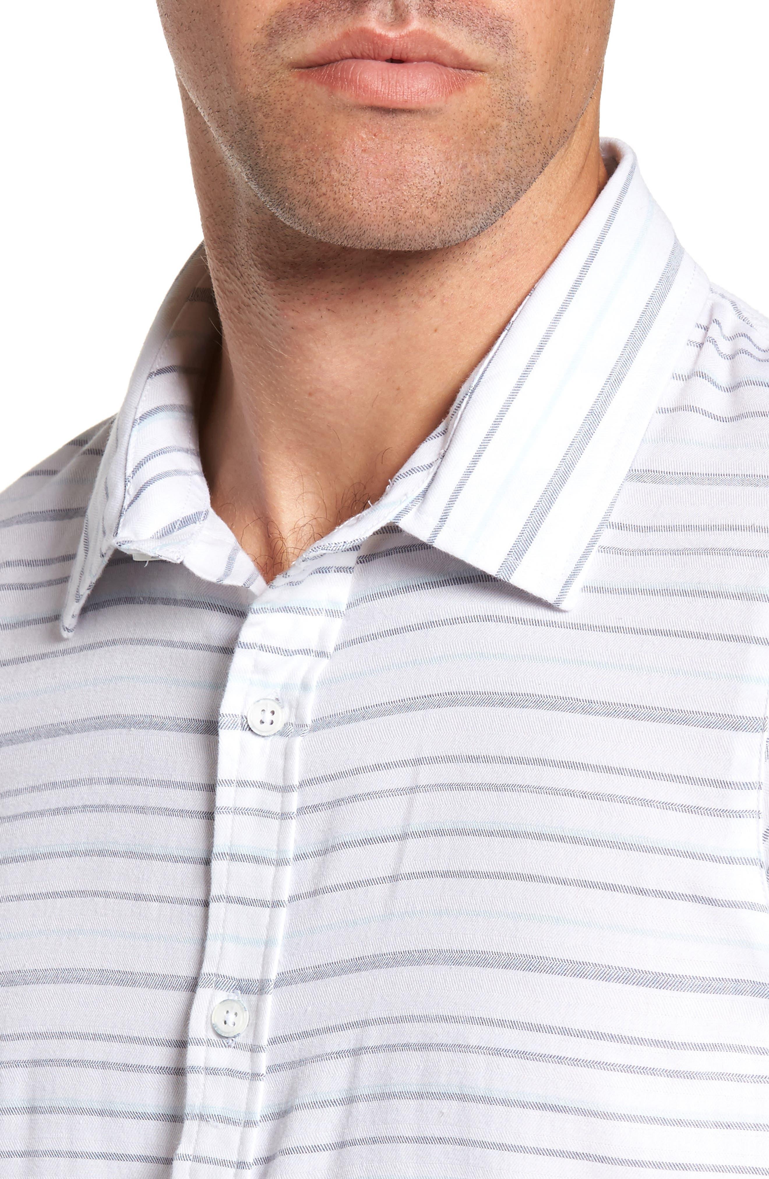 Long Board Stripe Sport Shirt,                             Alternate thumbnail 4, color,                             100