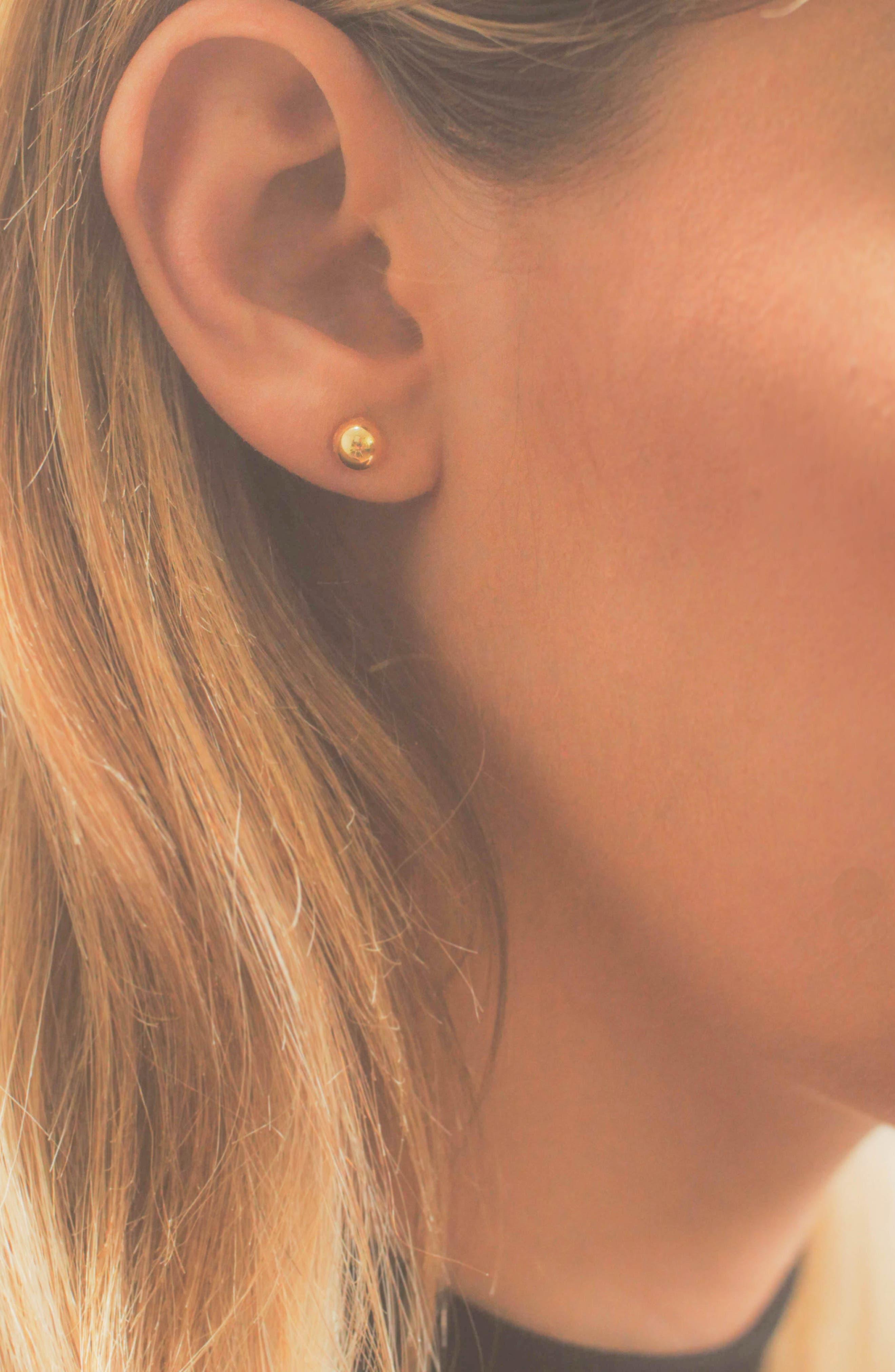14K Ball Stud Earrings,                             Alternate thumbnail 3, color,                             YELLOW GOLD