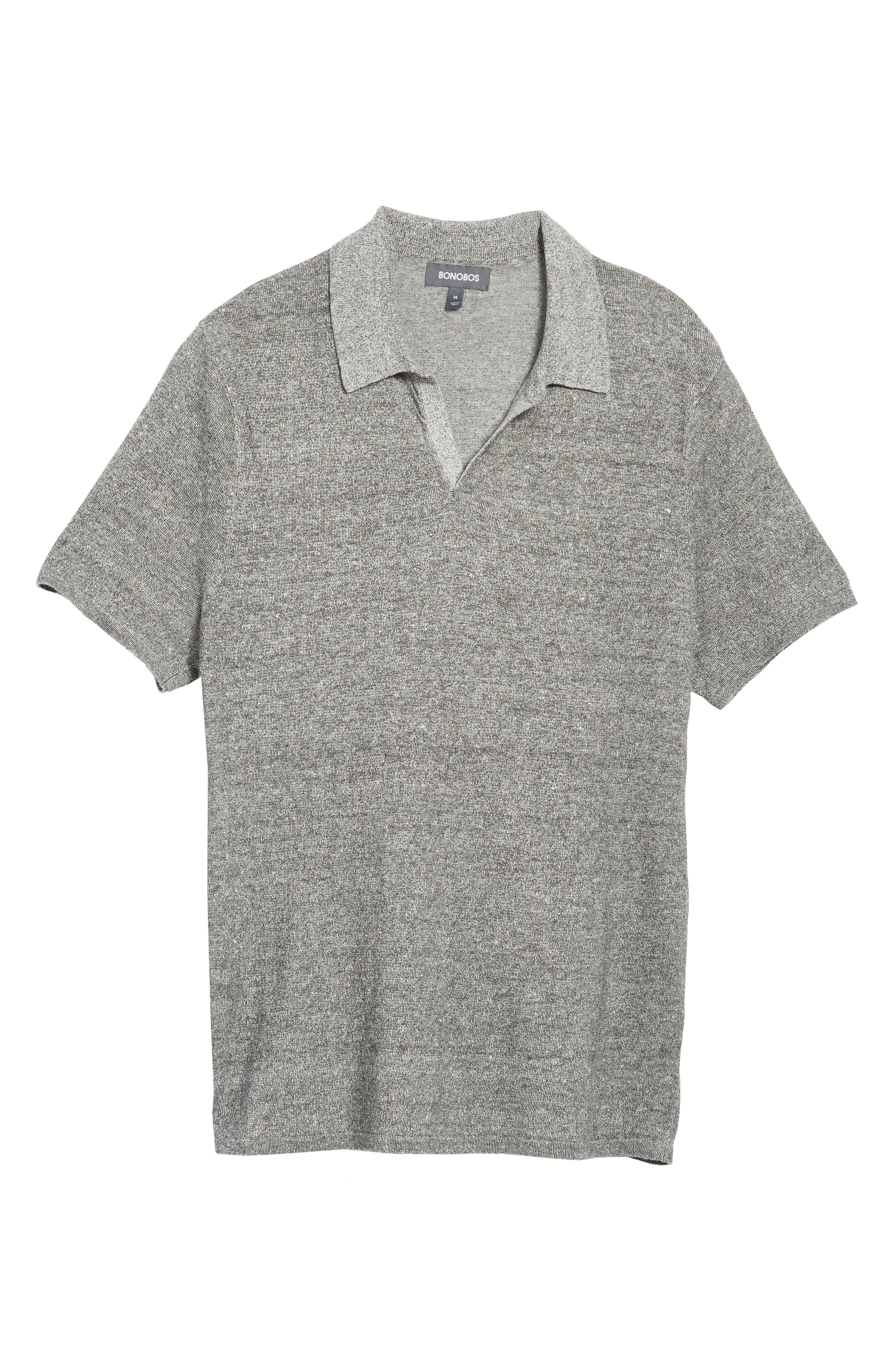 Linen Blend Polo Shirt,                             Alternate thumbnail 6, color,                             020