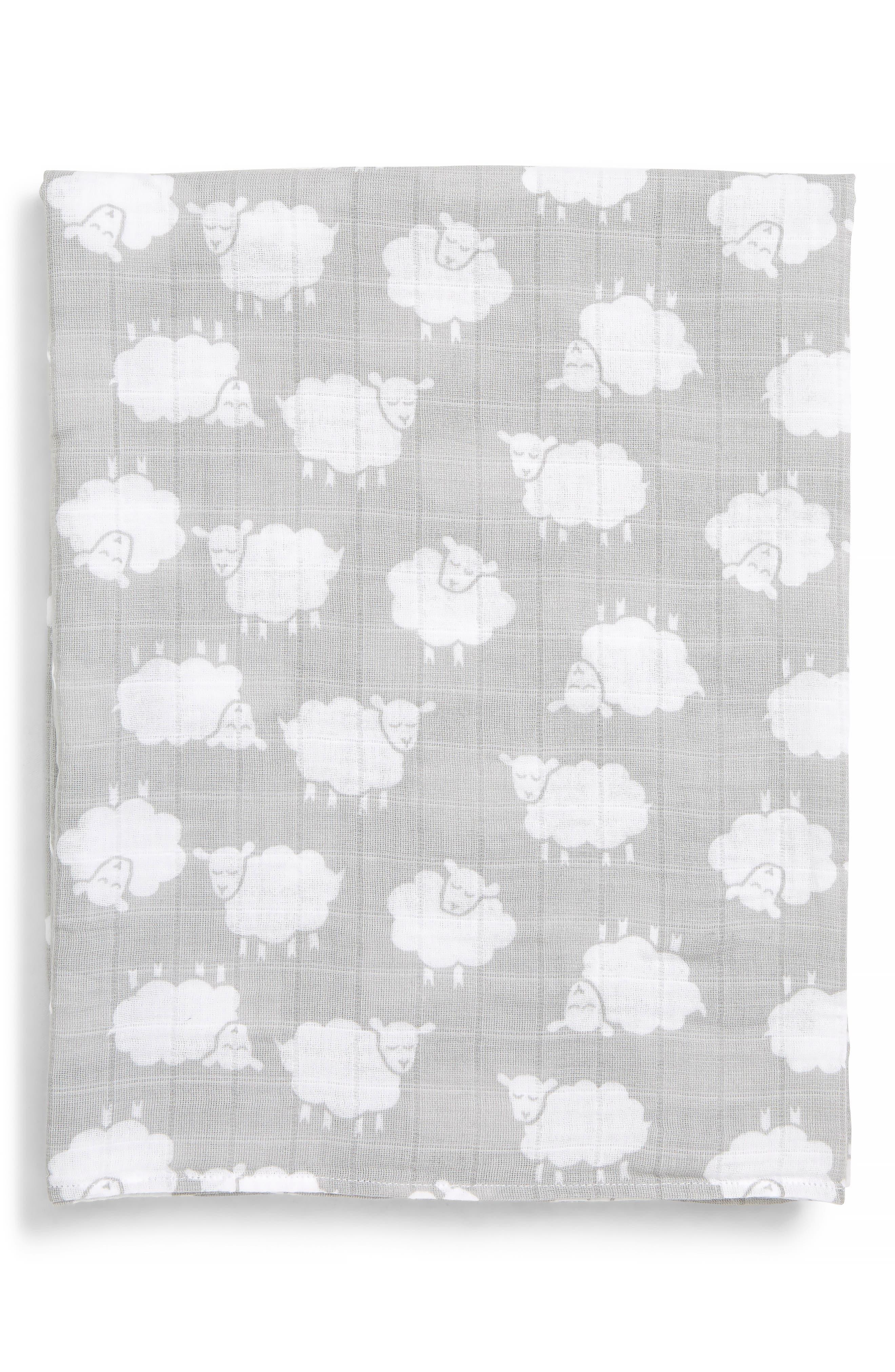Cotton Swaddle Blanket,                             Main thumbnail 1, color,                             GREY MICRO SHEEP