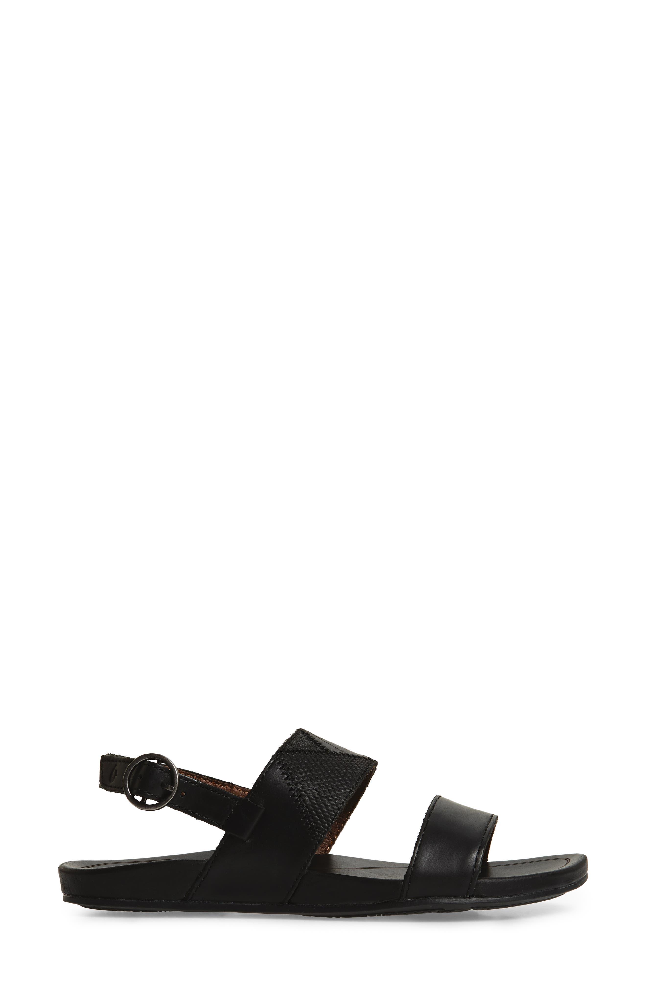 Hi'ona Pa'I Sandal,                             Alternate thumbnail 3, color,                             BLACK/ BLACK LEATHER