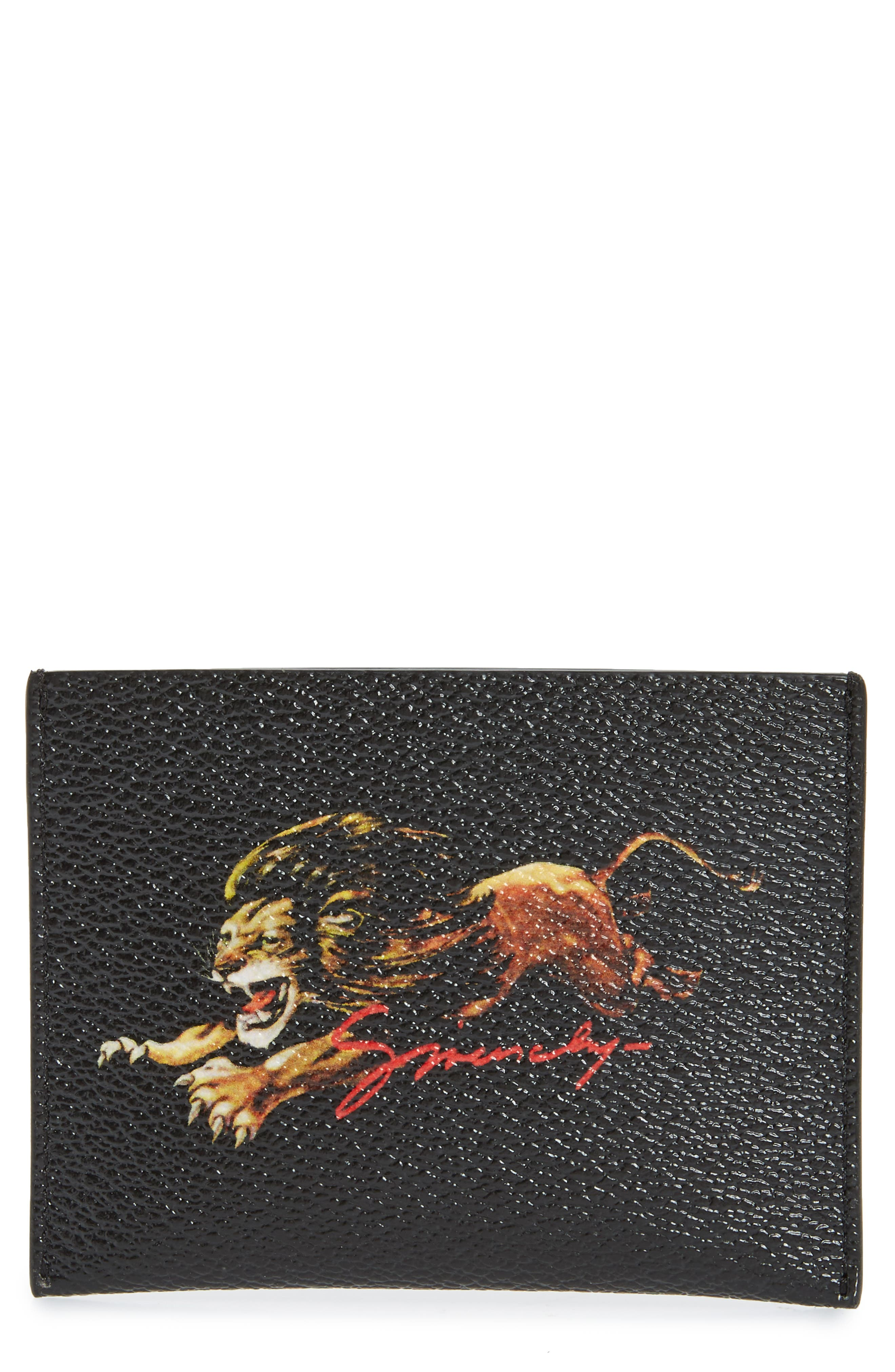 Lion Print Card Case,                             Main thumbnail 1, color,                             BLACK MULTI
