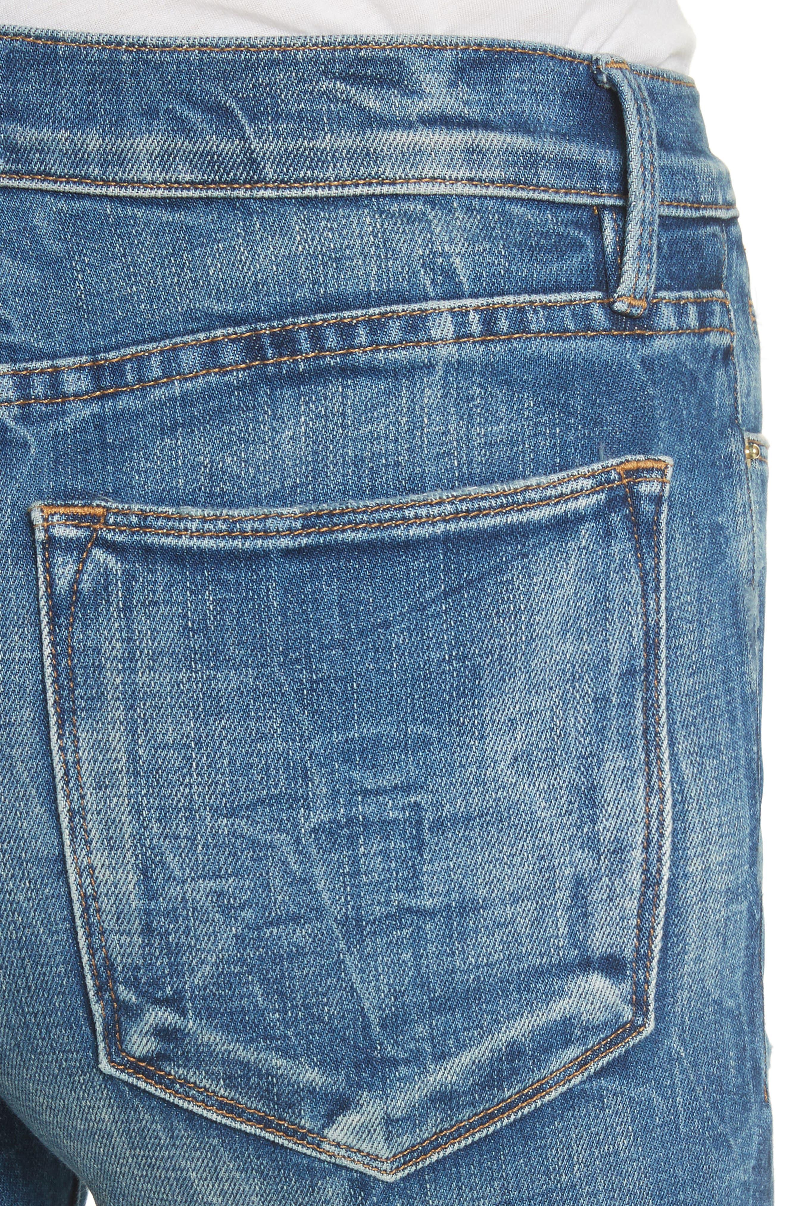Le High Raw Edge Straight Jeans,                             Alternate thumbnail 4, color,                             401