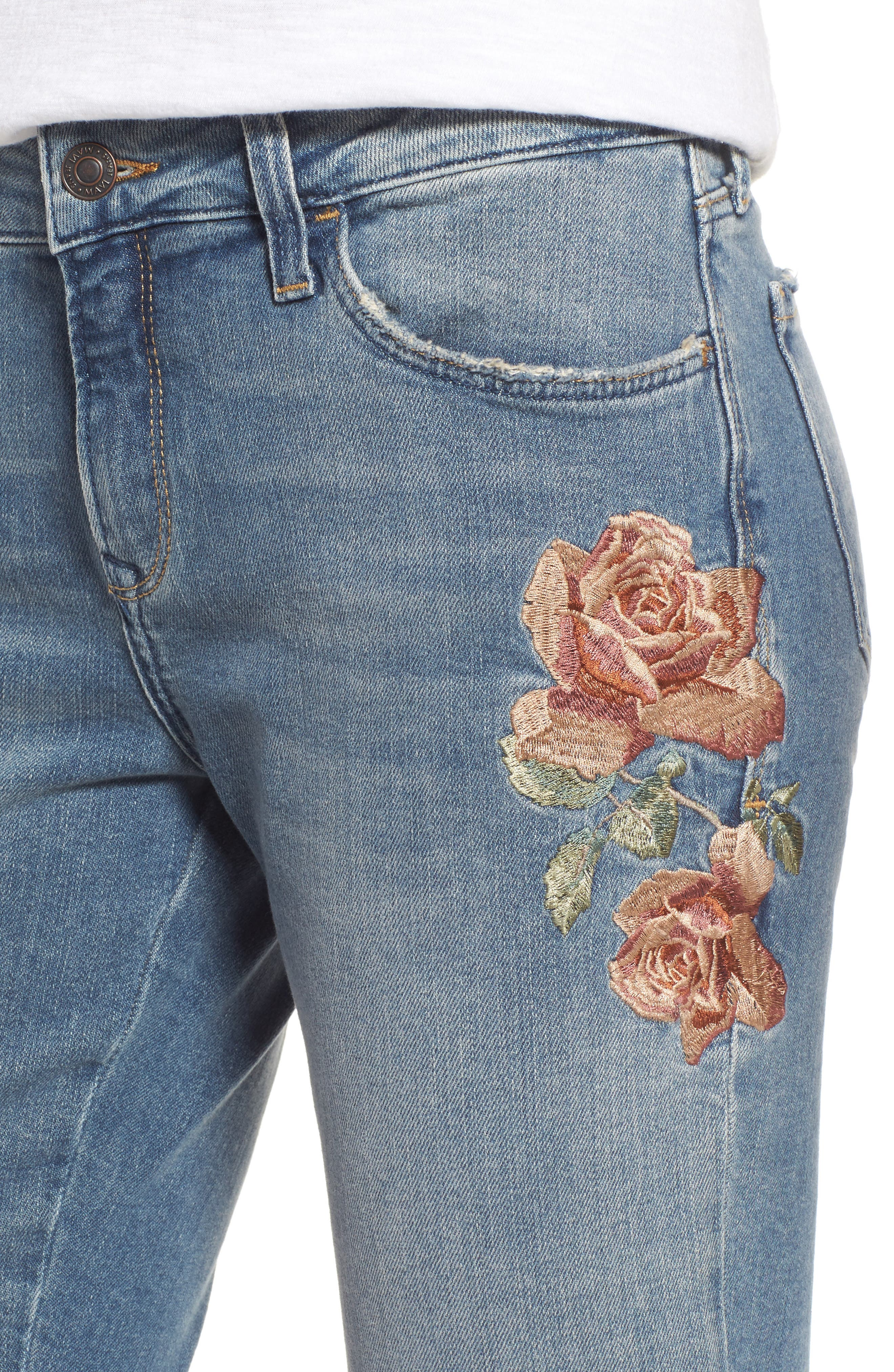 Ada Embroidered Boyfriend Jeans,                             Alternate thumbnail 4, color,                             420