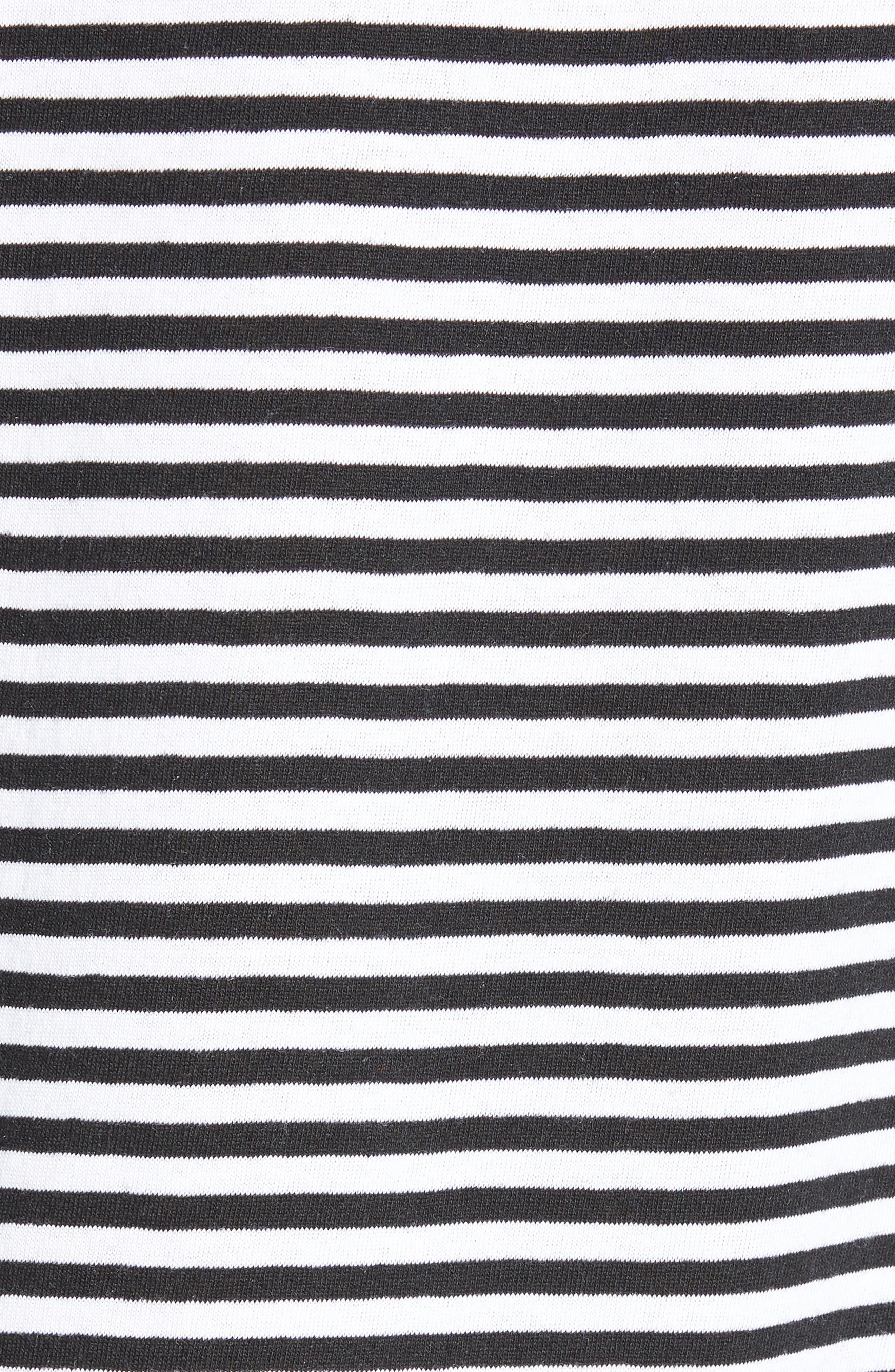 Stripe Crewneck T-Shirt,                             Alternate thumbnail 5, color,                             BLACK ROCK - WHITE STRIPE