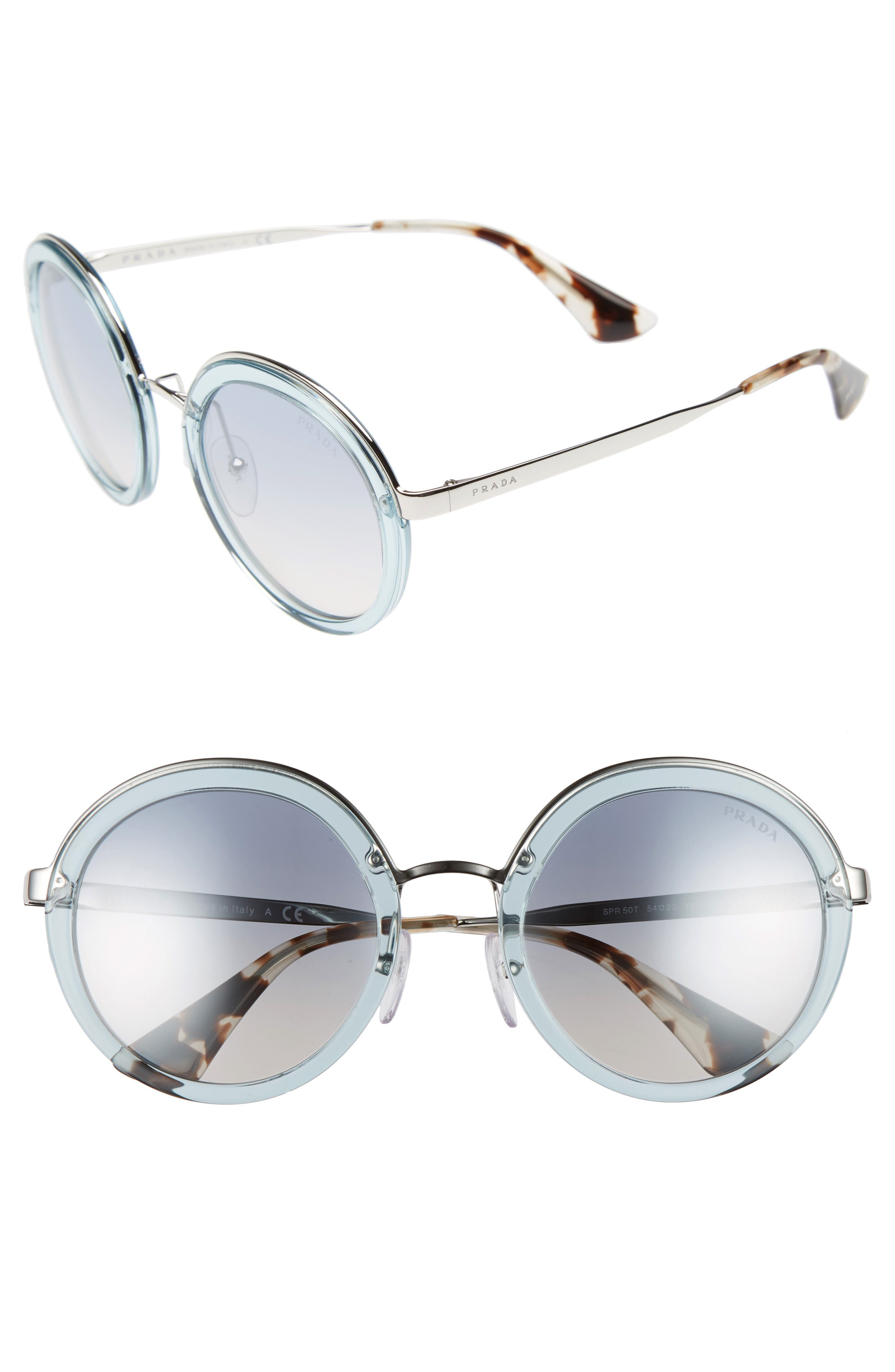 PRADA,                             54mm Round Sunglasses,                             Main thumbnail 1, color,                             400