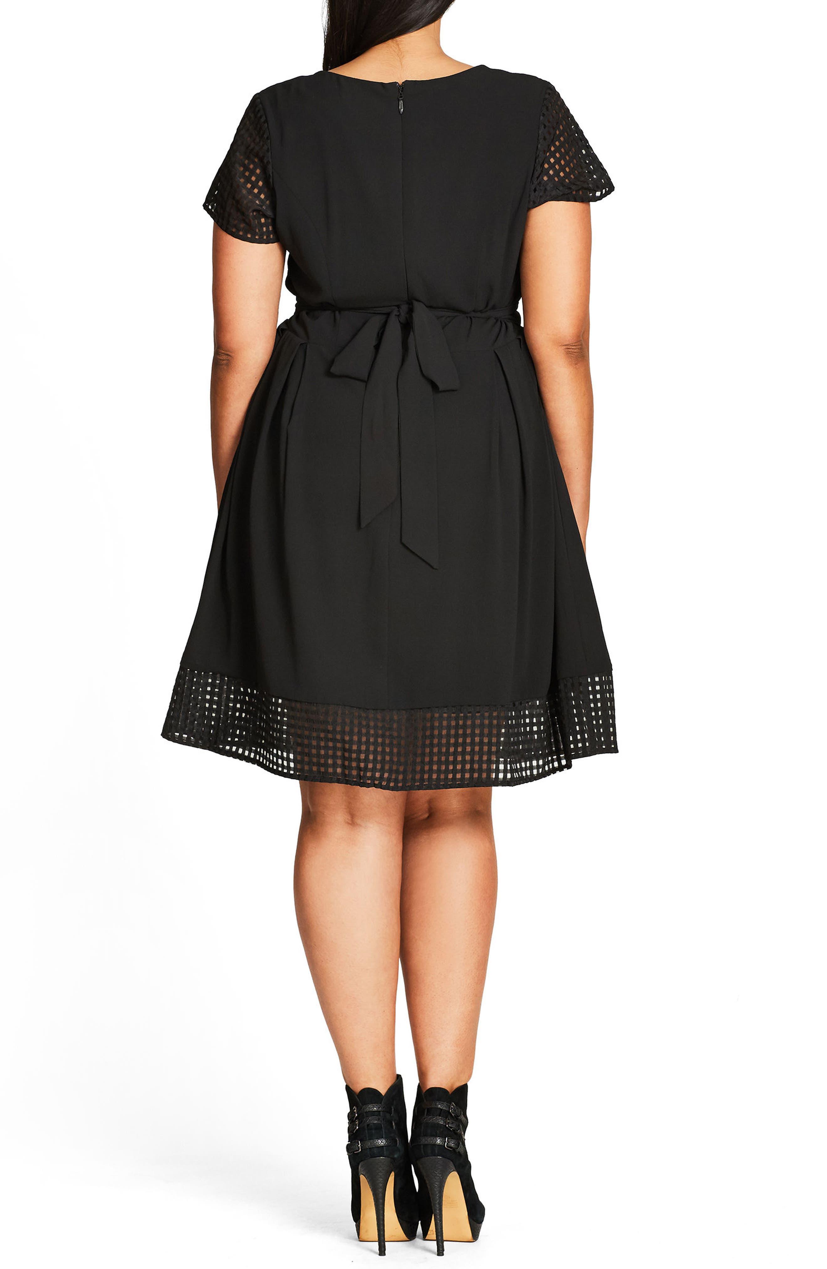 Sweet Texture Fit & Flare Dress,                             Alternate thumbnail 2, color,                             BLACK