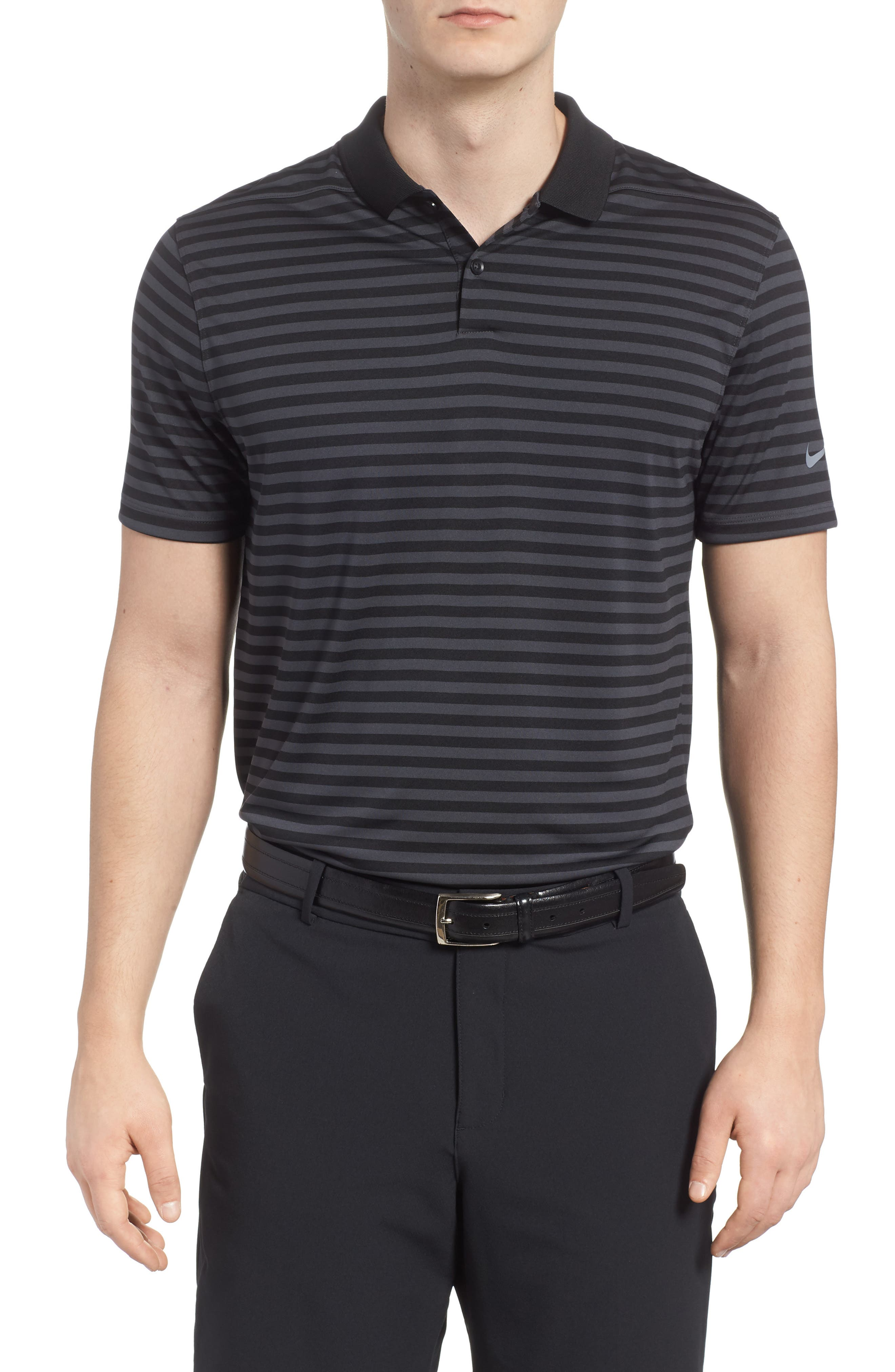 NIKE Dry Victory Stripe Golf Polo, Main, color, 010