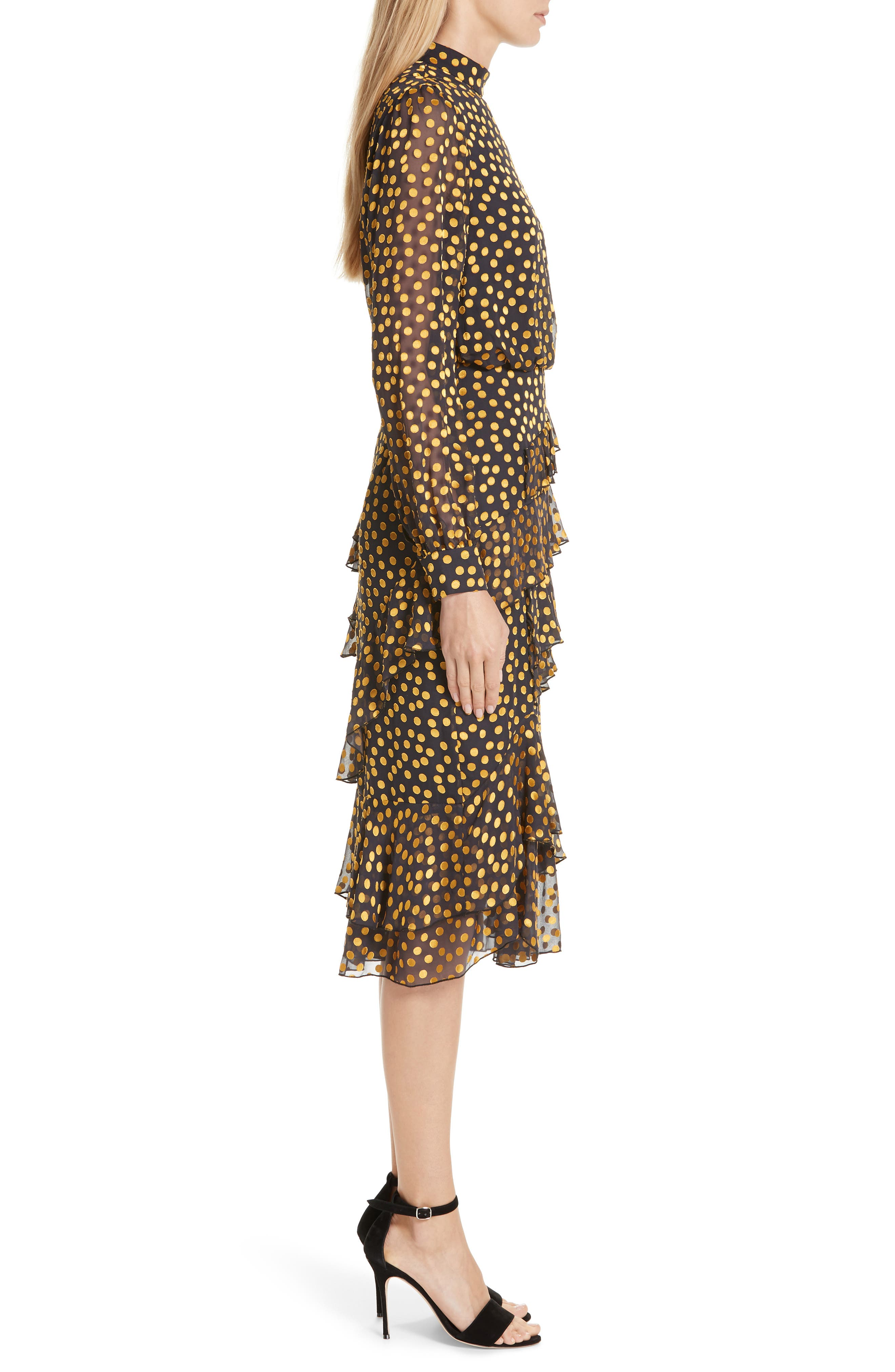 Isa Polka Dot Devoré Satin Dress,                             Alternate thumbnail 3, color,                             BLACK/ YELLOW DOTS