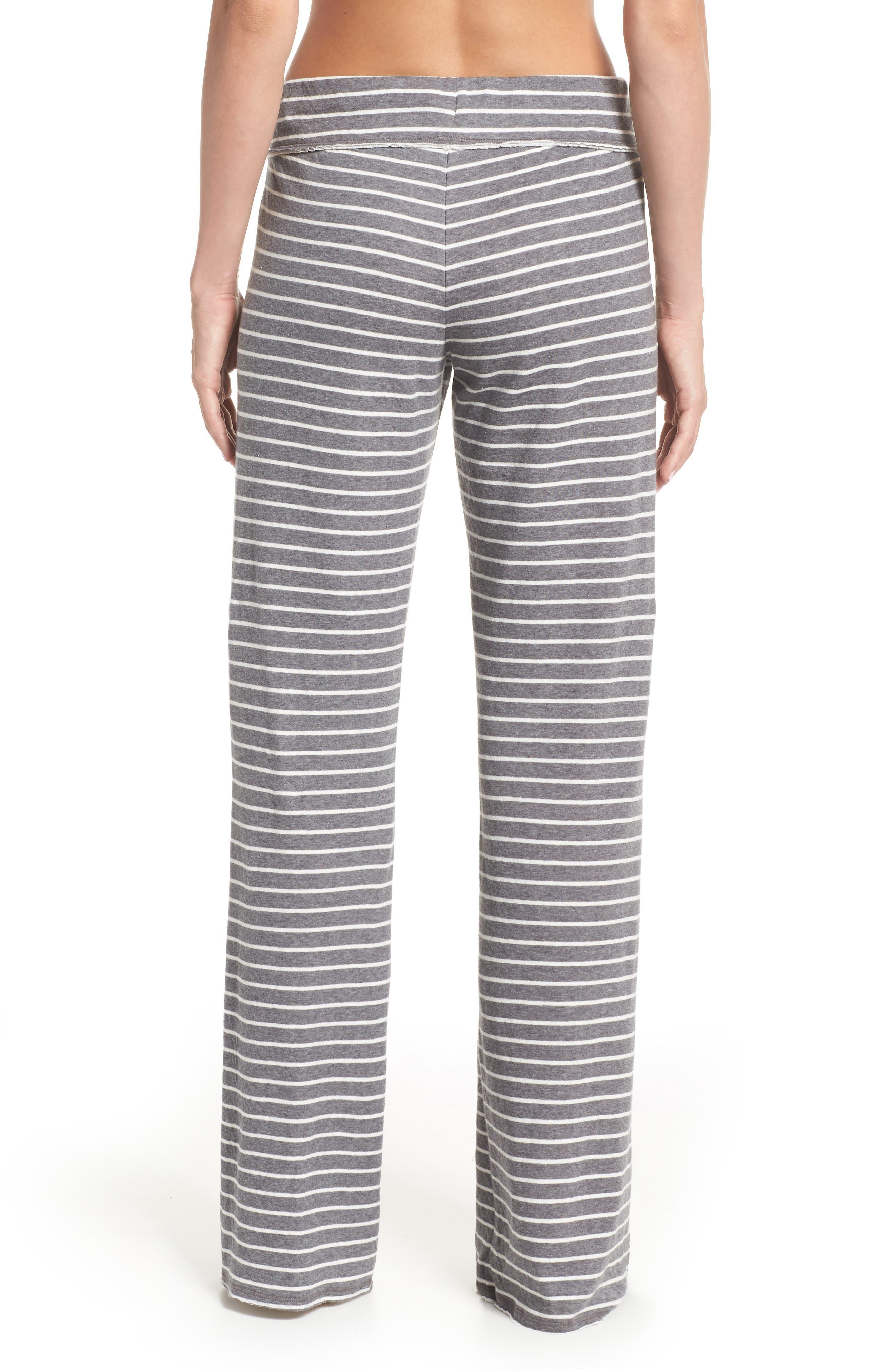 'Lazy Mornings' Lounge Pants,                             Alternate thumbnail 2, color,                             GREY PAVEMENT BELLA STRIPE