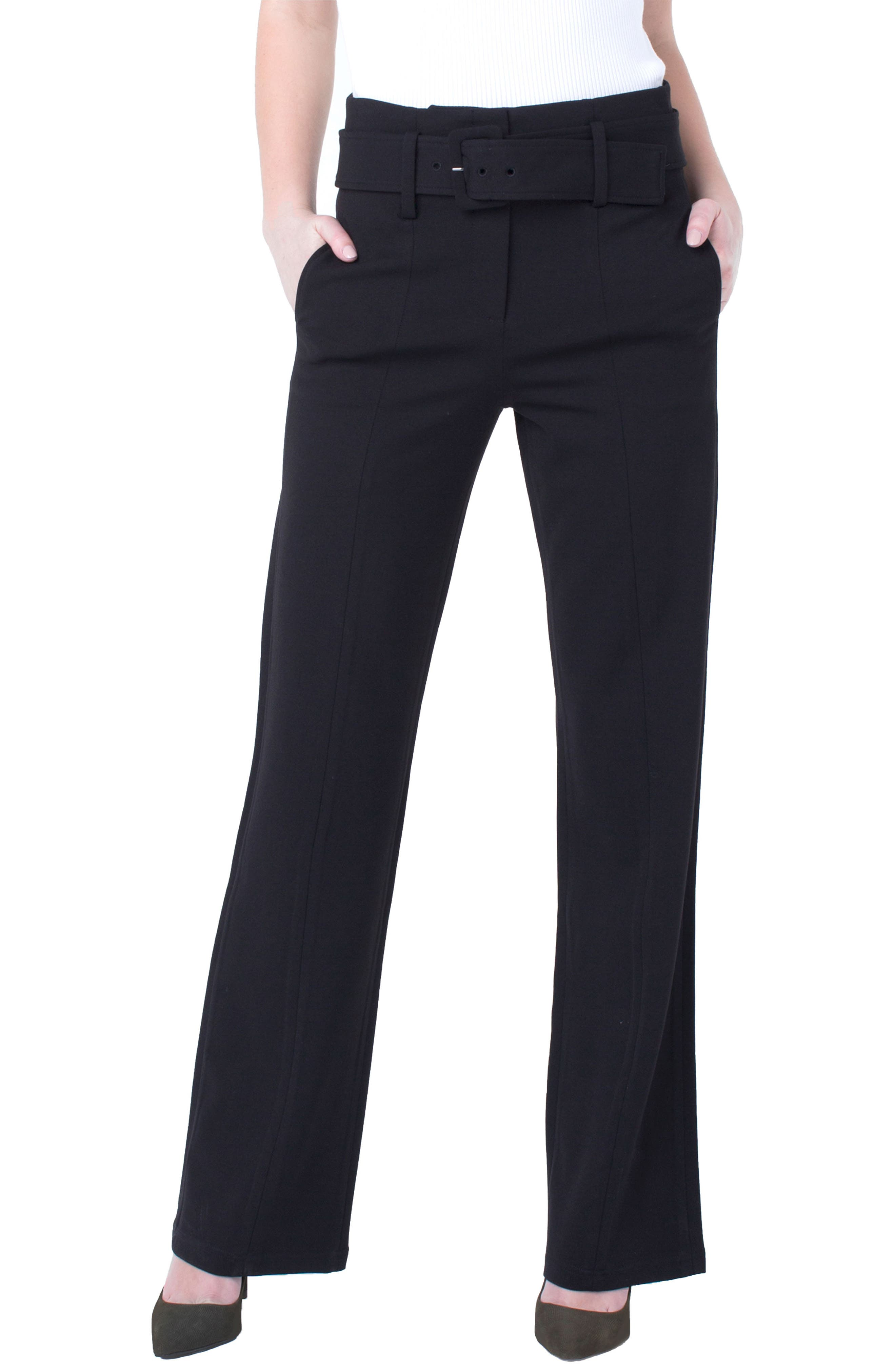 LIVERPOOL Taylor Belted High Rise Trousers in Black
