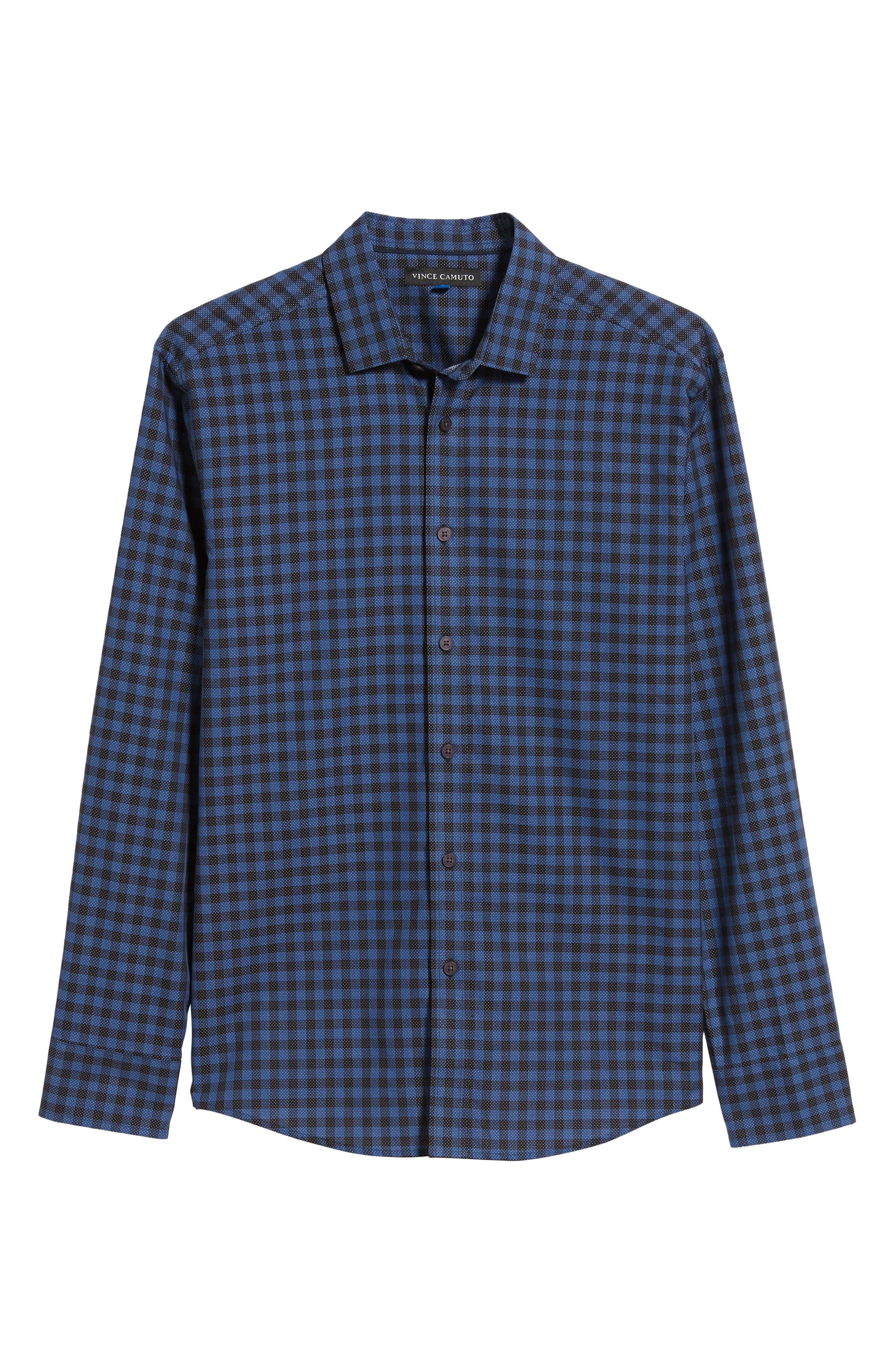 Long Sleeve Check & Dobby Sport Shirt,                             Alternate thumbnail 5, color,                             BLUE BLACK CHECK WHITE DOBBY