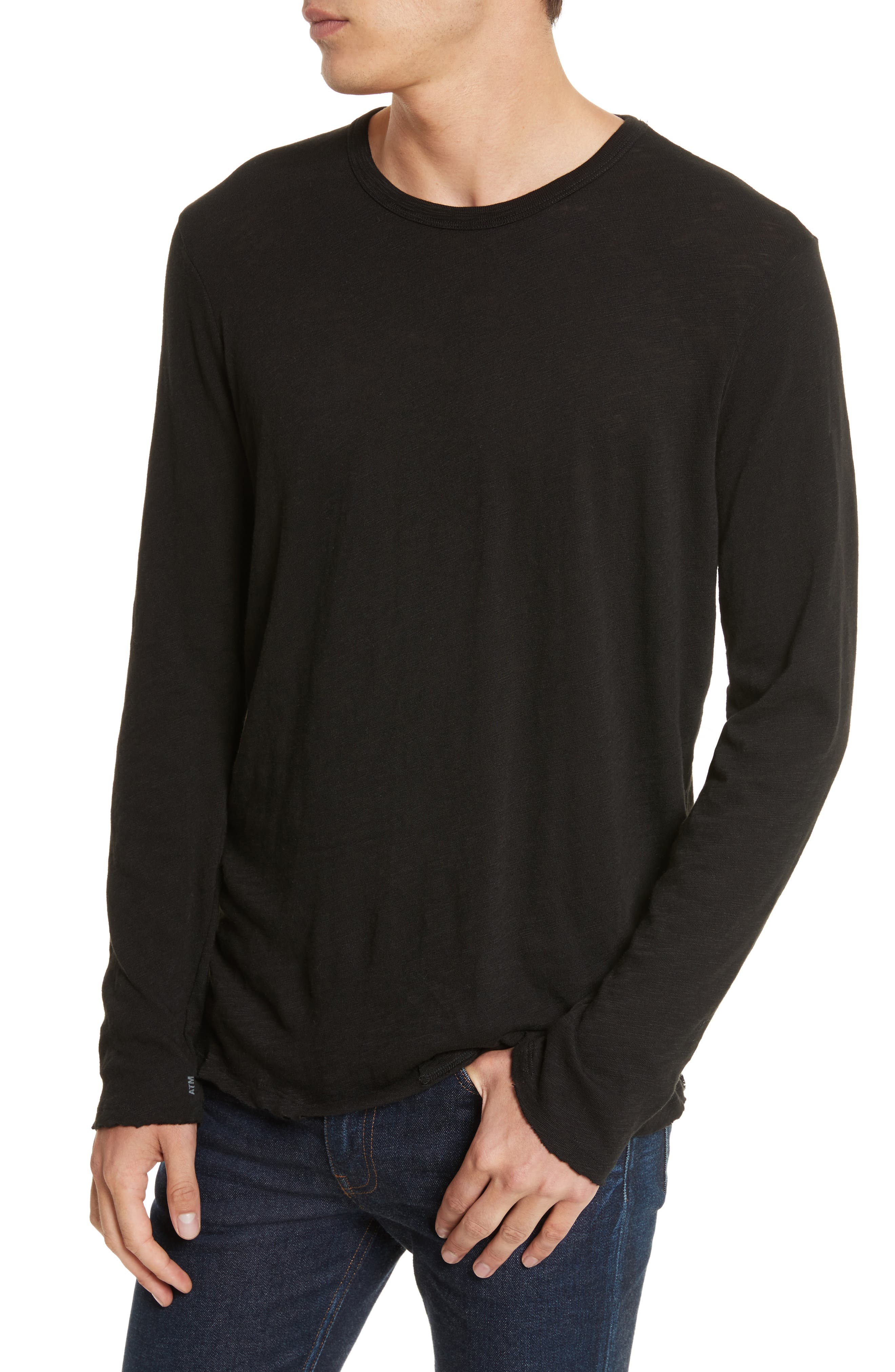 Destroyed Long Sleeve T-Shirt,                             Alternate thumbnail 4, color,                             BLACK