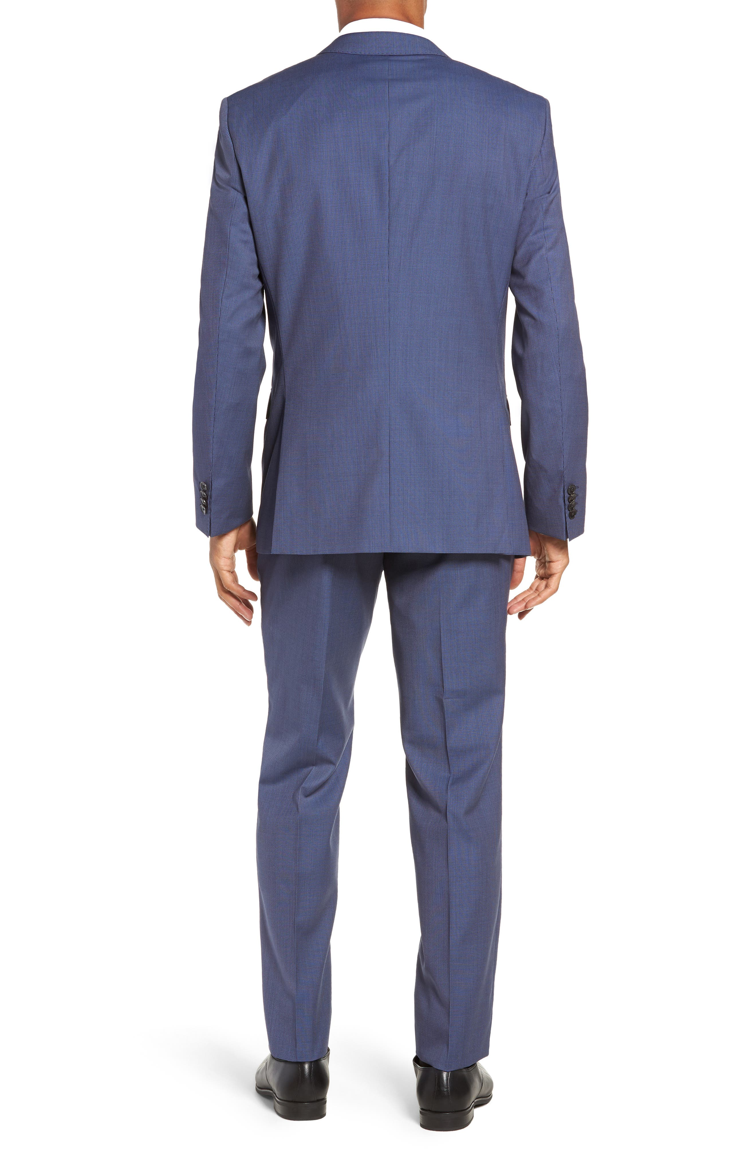Huge/Genius Trim Fit Solid Three Piece Wool Suit,                             Alternate thumbnail 2, color,                             BLUE