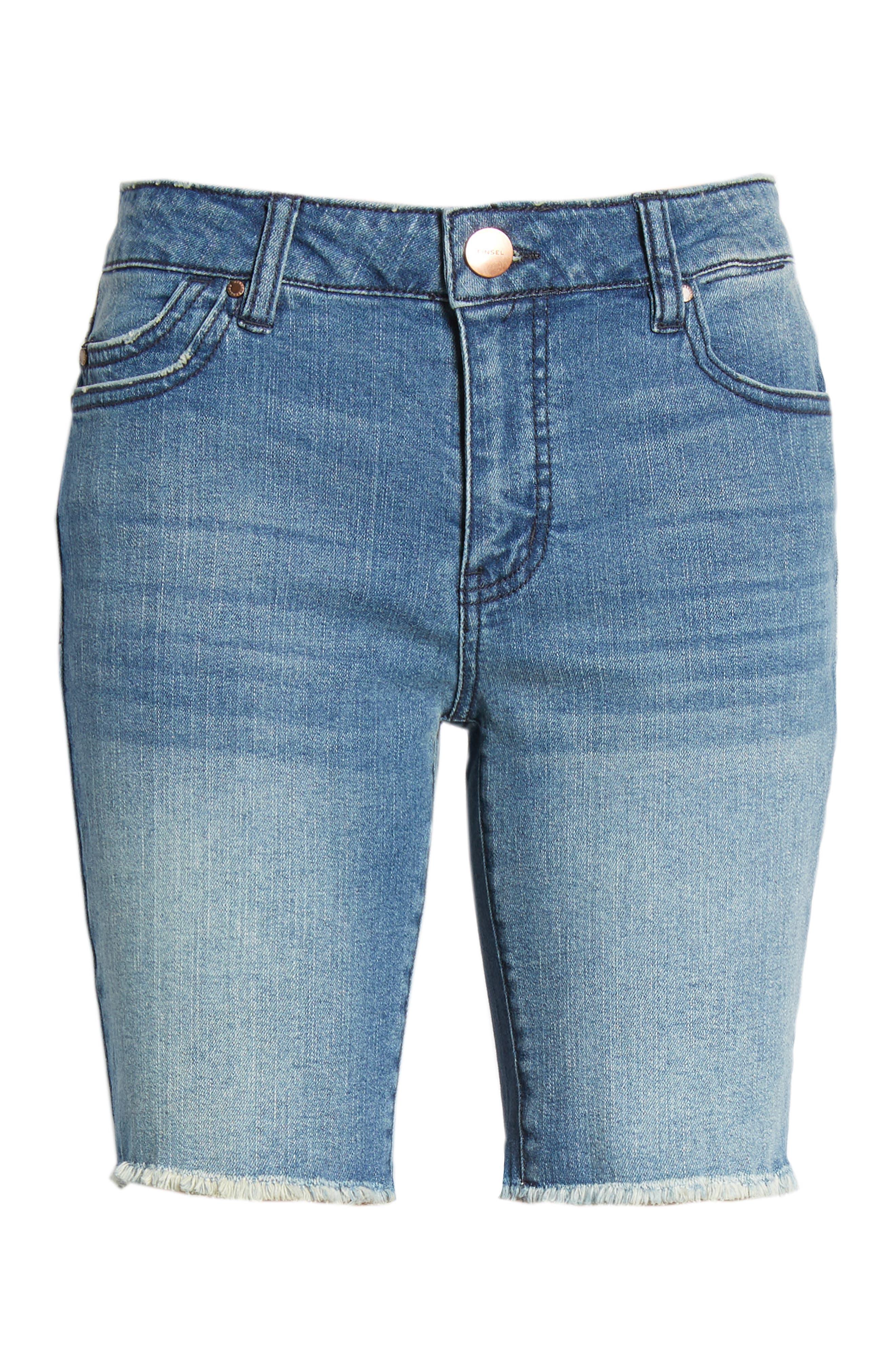 TINSEL,                             Fray Hem Denim Bermuda Shorts,                             Alternate thumbnail 7, color,                             400