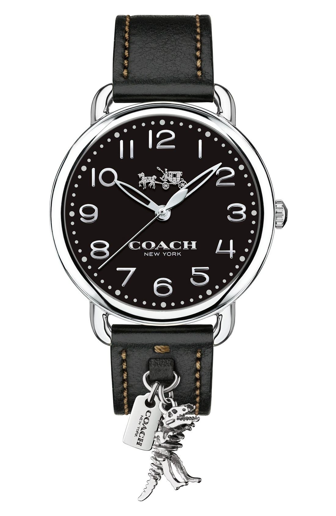 Delancey Leather Strap Watch, 36mm,                         Main,                         color, BLACK