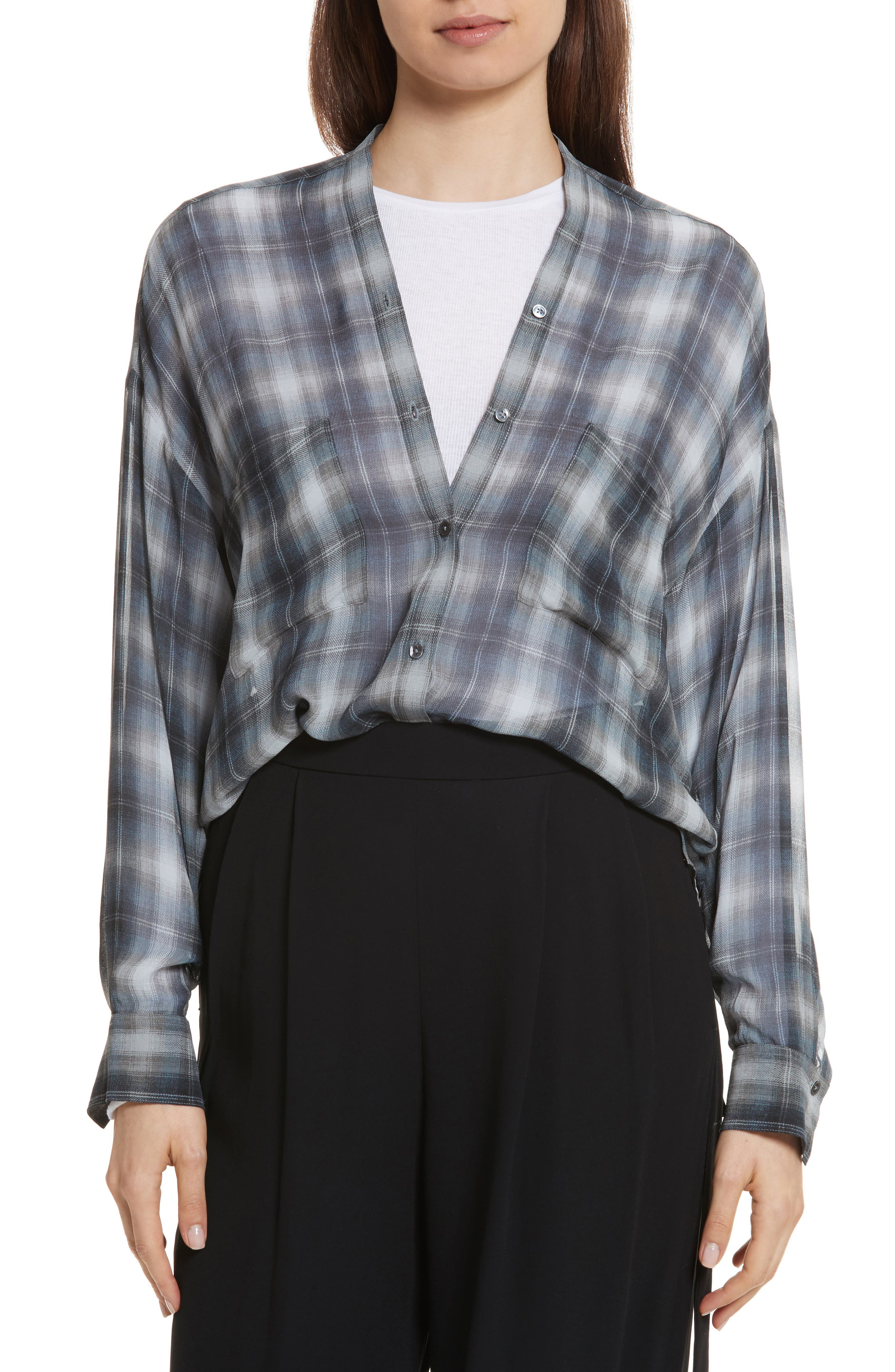 Shadow Plaid Silk Blouse,                         Main,                         color,