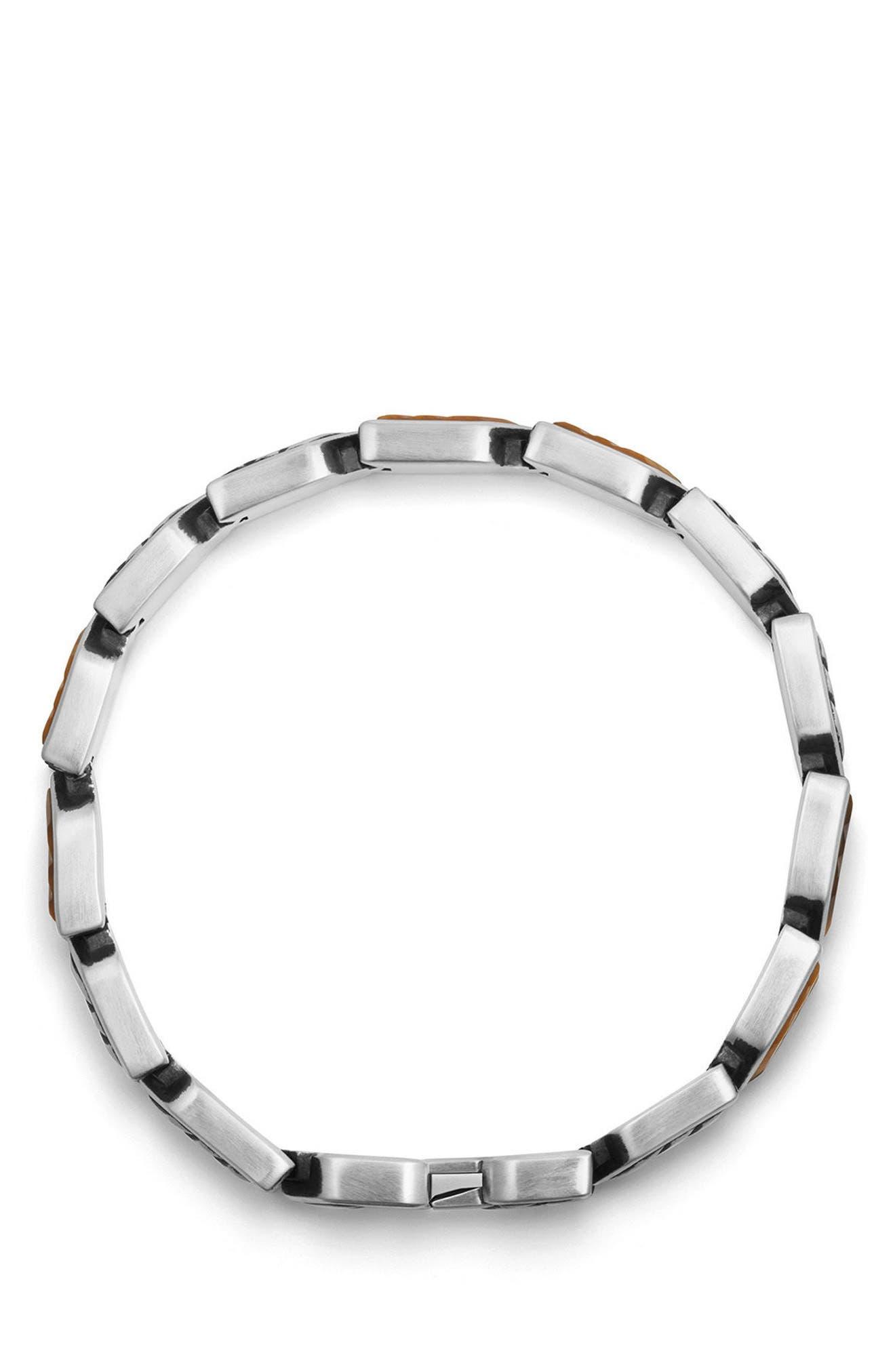 Chevron Link Bracelet,                             Alternate thumbnail 3, color,                             SILVER/ TIGERS EYE