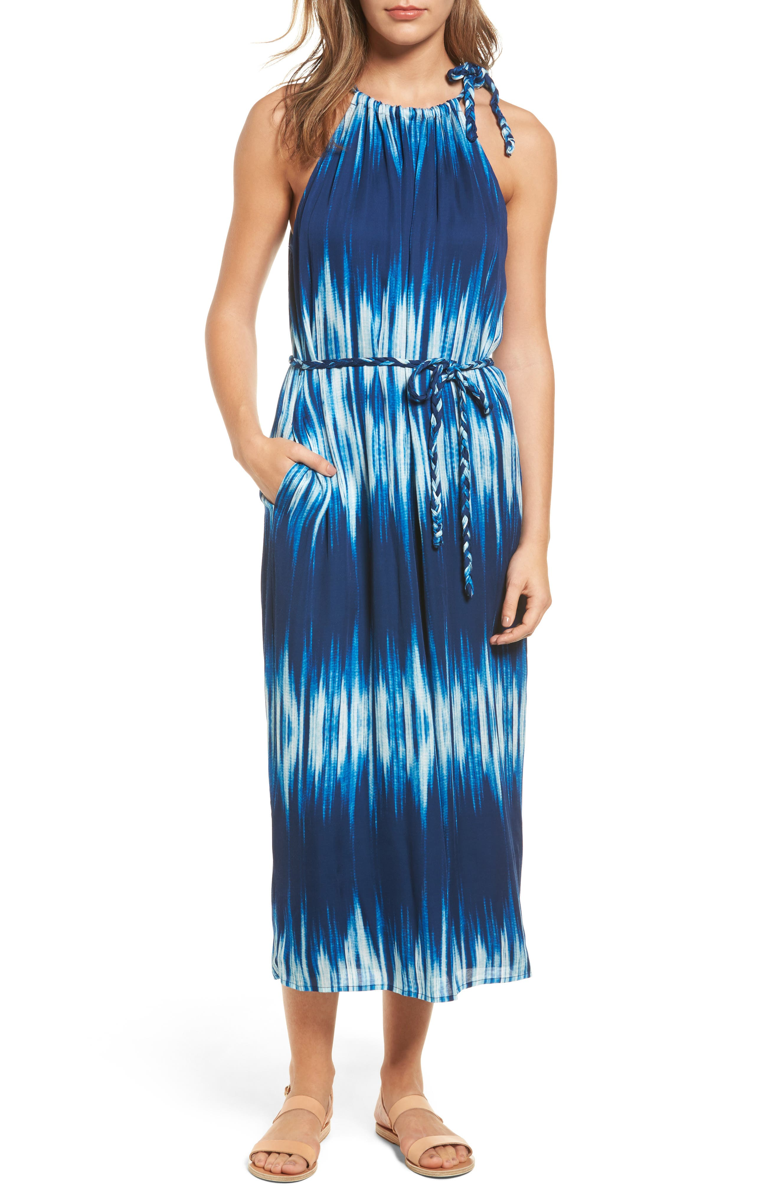 Petra Tie Neck Maxi Dress,                             Main thumbnail 1, color,                             400