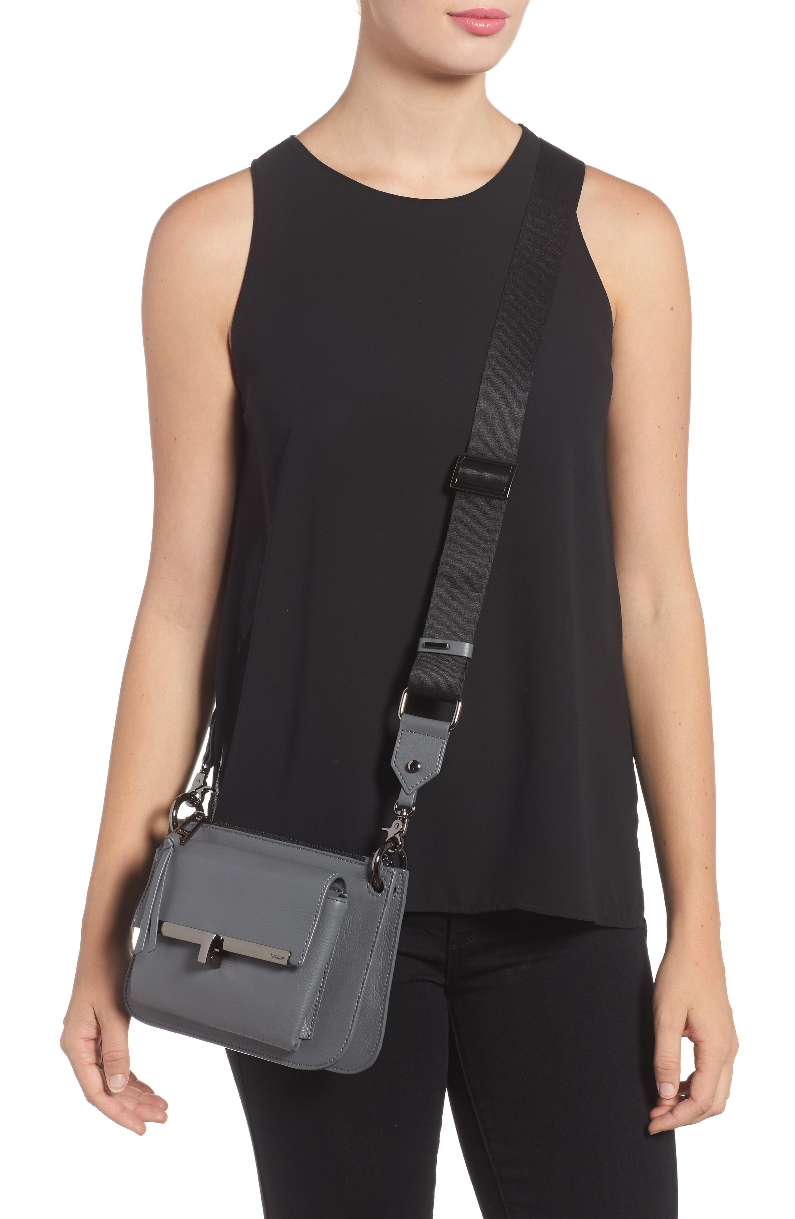 Bleeker Leather Double Shoulder Bag,                             Alternate thumbnail 9, color,