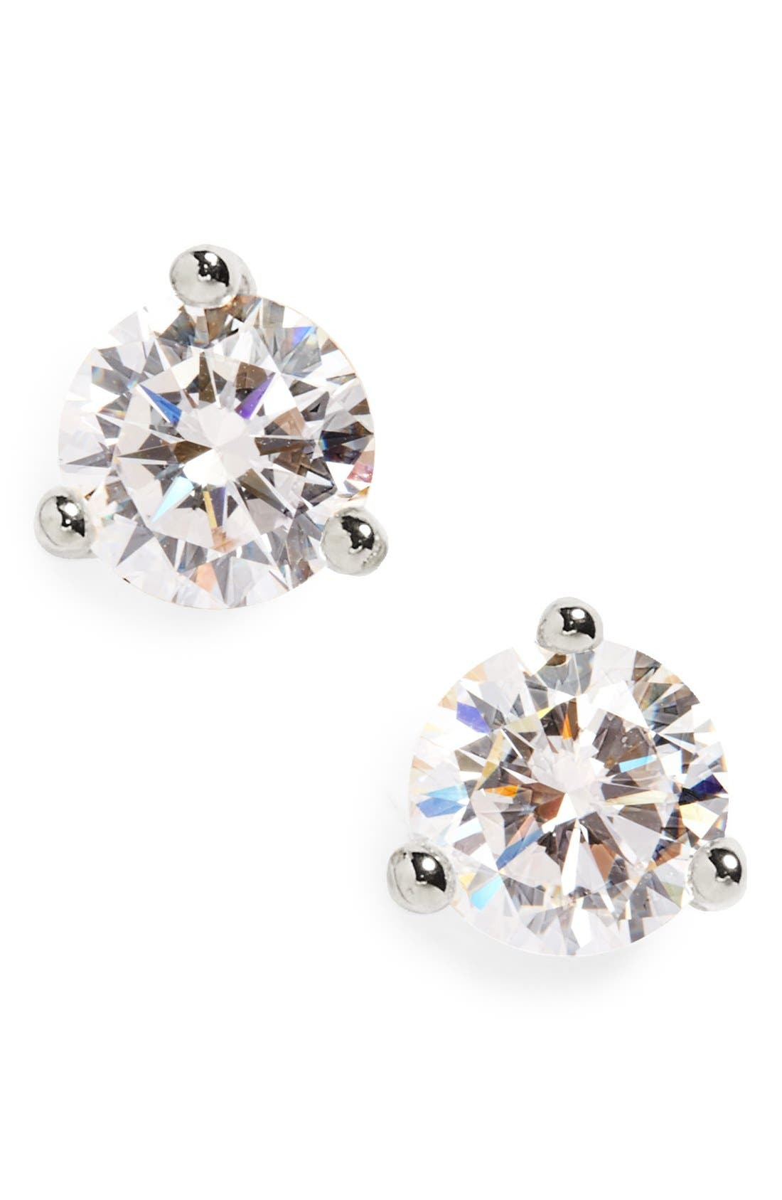 Round 0.50ct Cubic Zirconia Earrings,                             Main thumbnail 1, color,                             PLATINUM