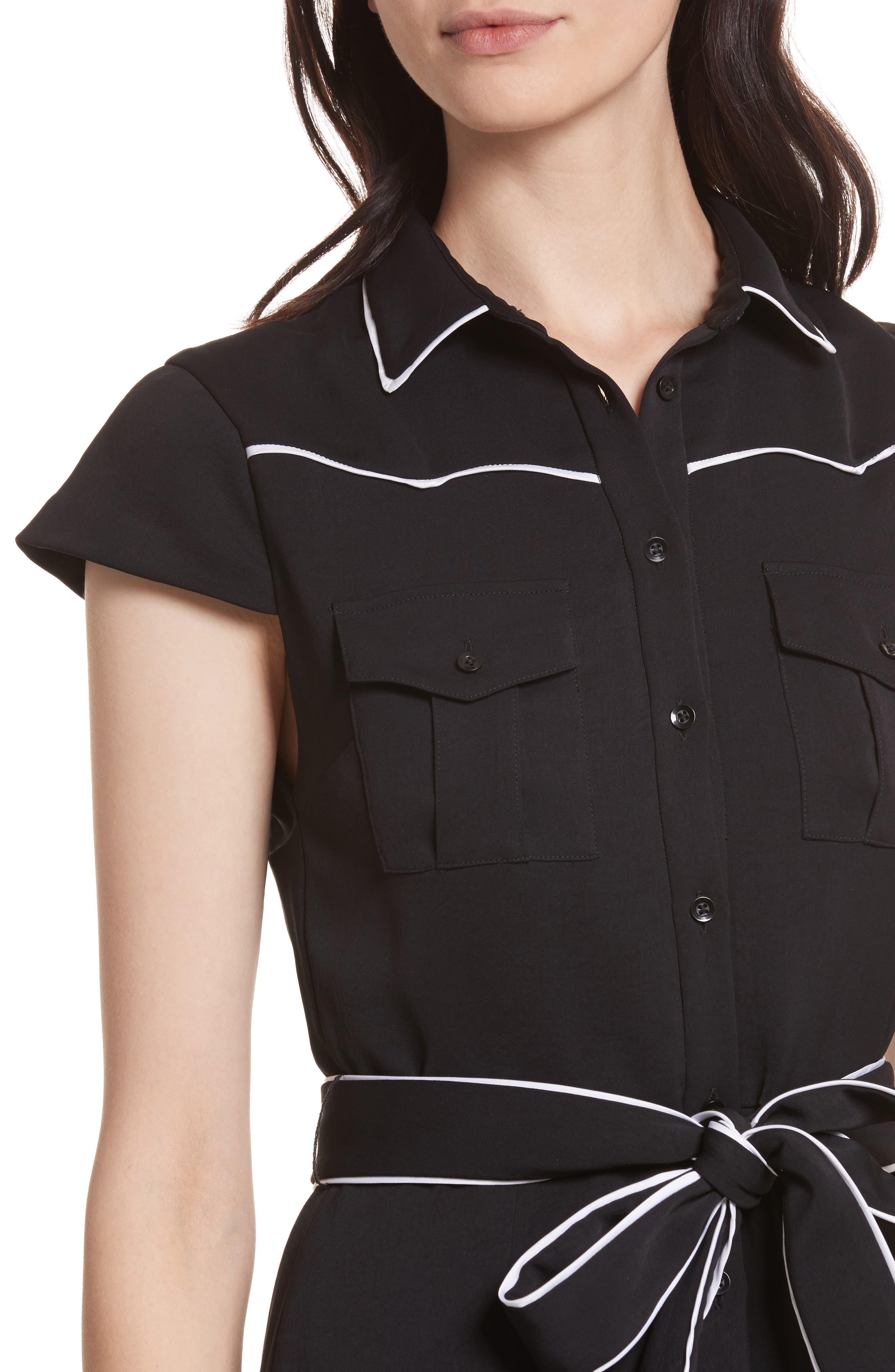 Pleated Shirtdress,                             Alternate thumbnail 4, color,                             009