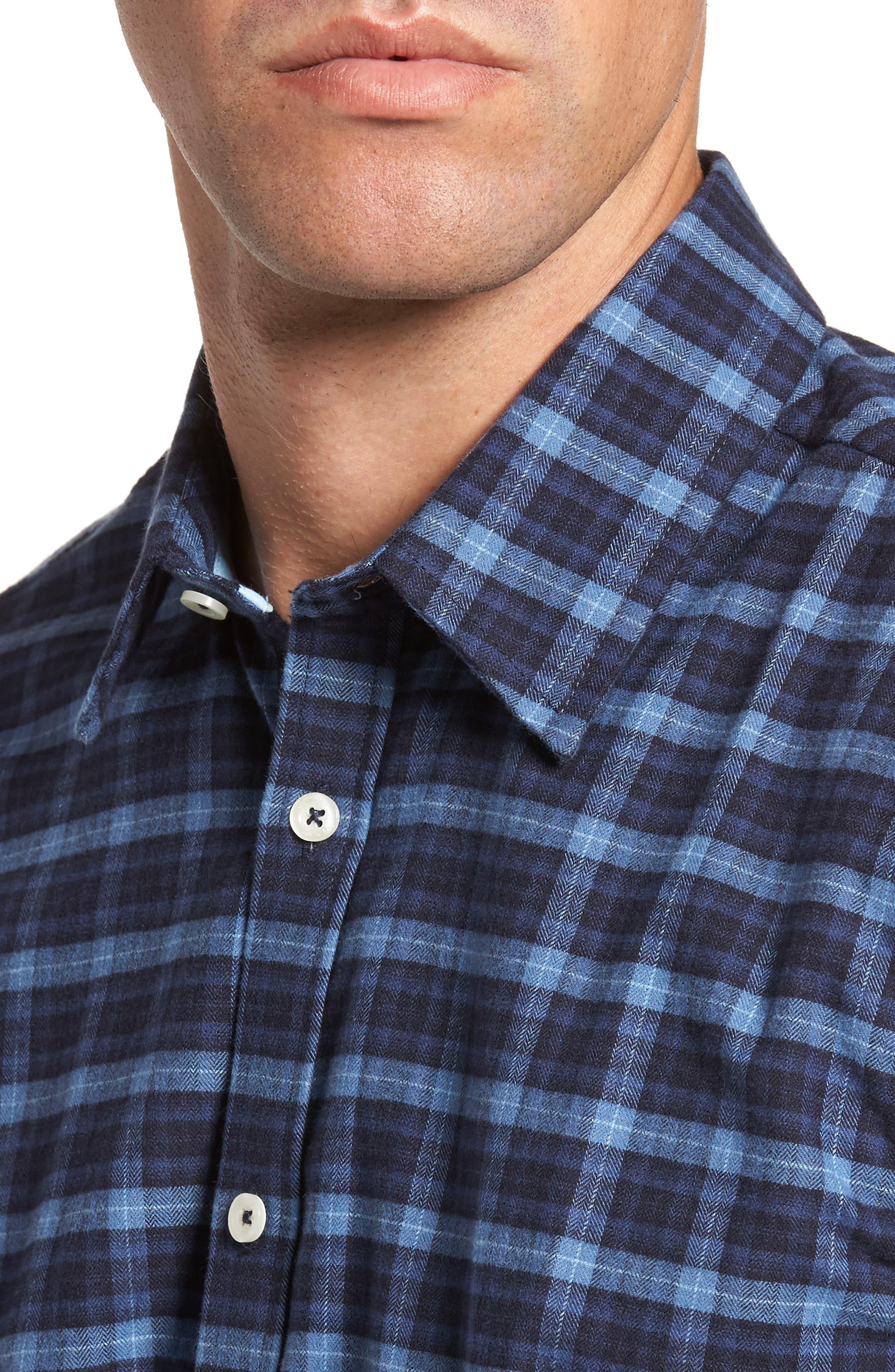 Regular Fit Plaid Sport Shirt,                             Alternate thumbnail 4, color,                             410