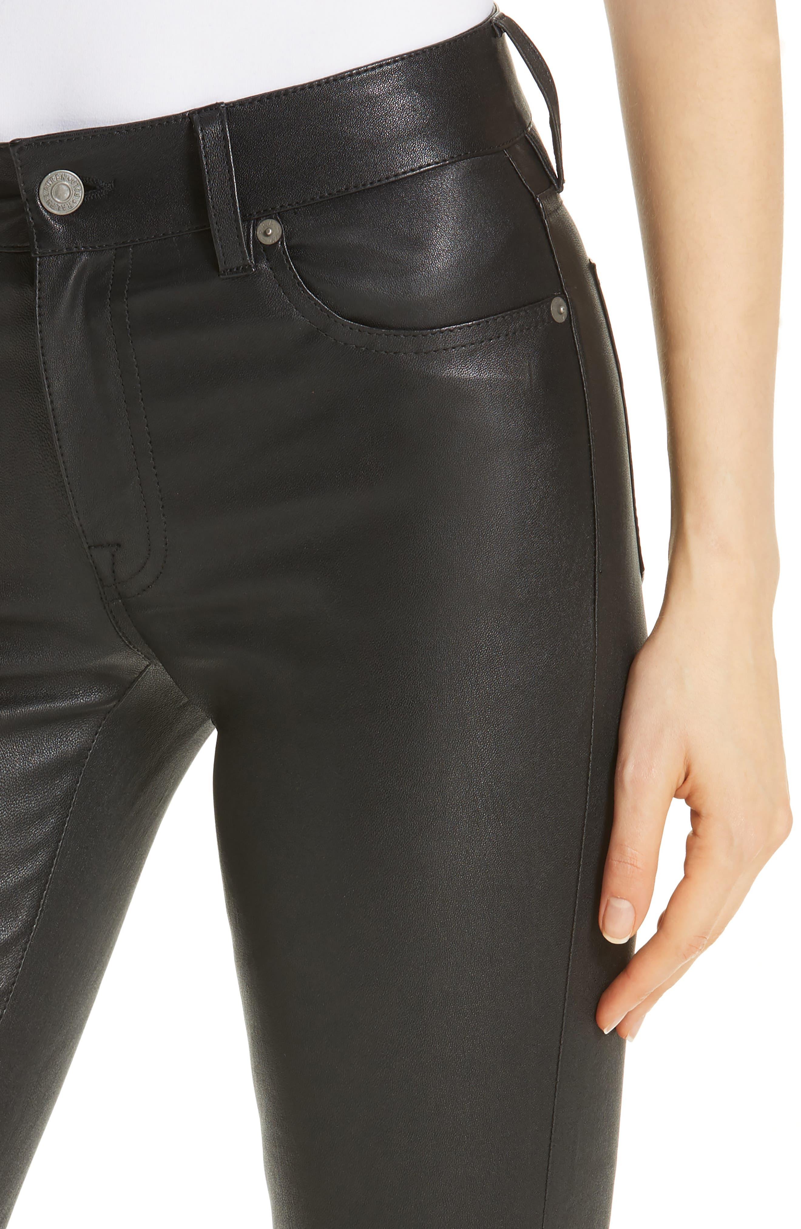 Five Pocket Leather Skinny Pants,                             Alternate thumbnail 4, color,                             001