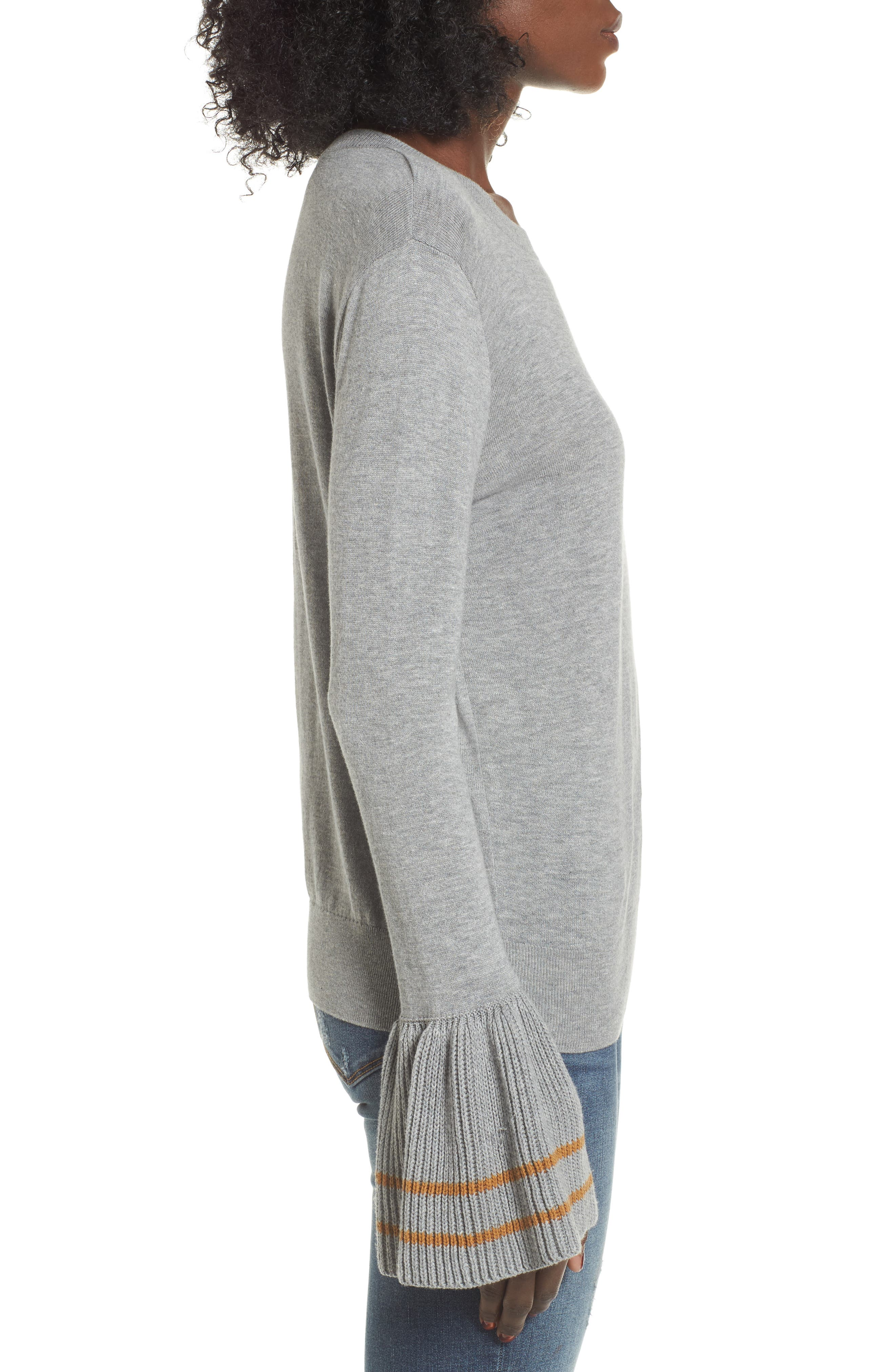 Ruffle Bell Cuff Sweater,                             Alternate thumbnail 3, color,                             030