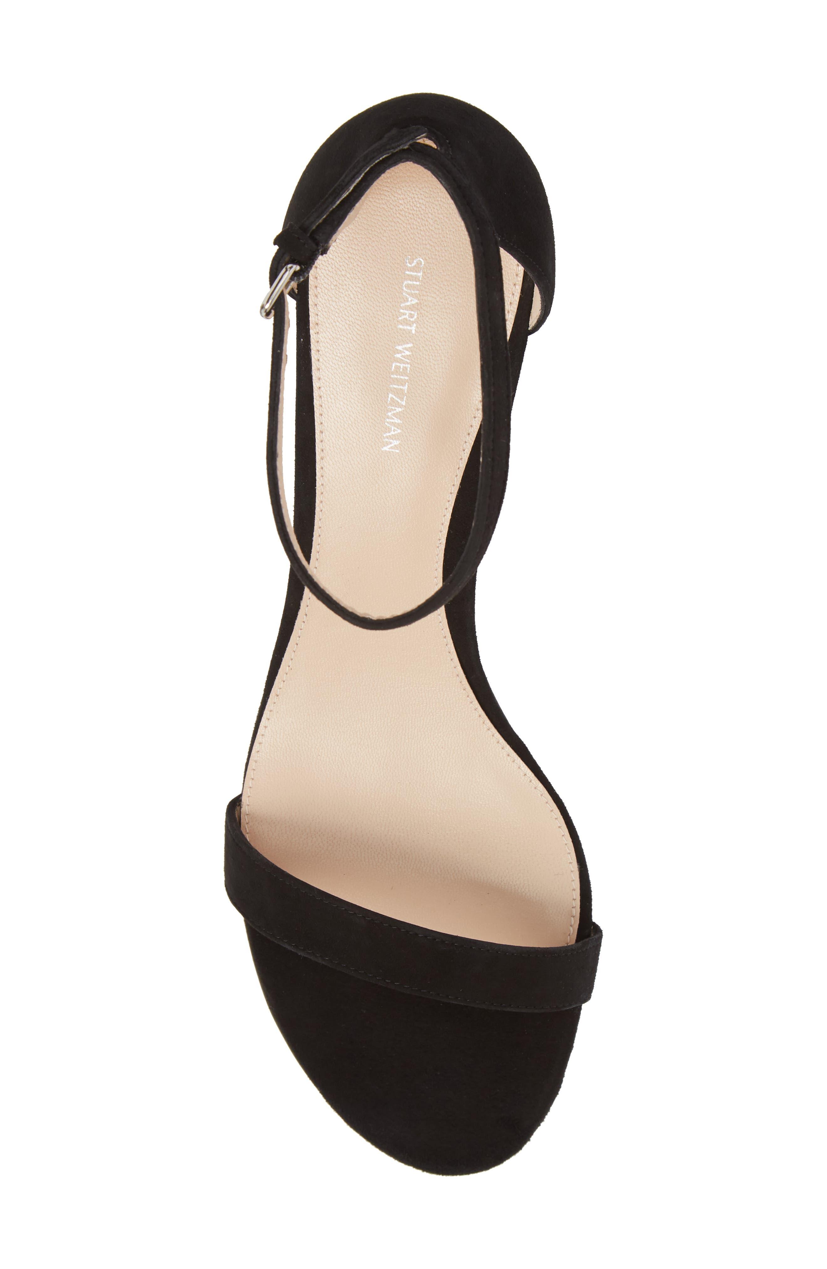 Simple Ankle Strap Sandal,                             Alternate thumbnail 5, color,                             BLACK SUEDE