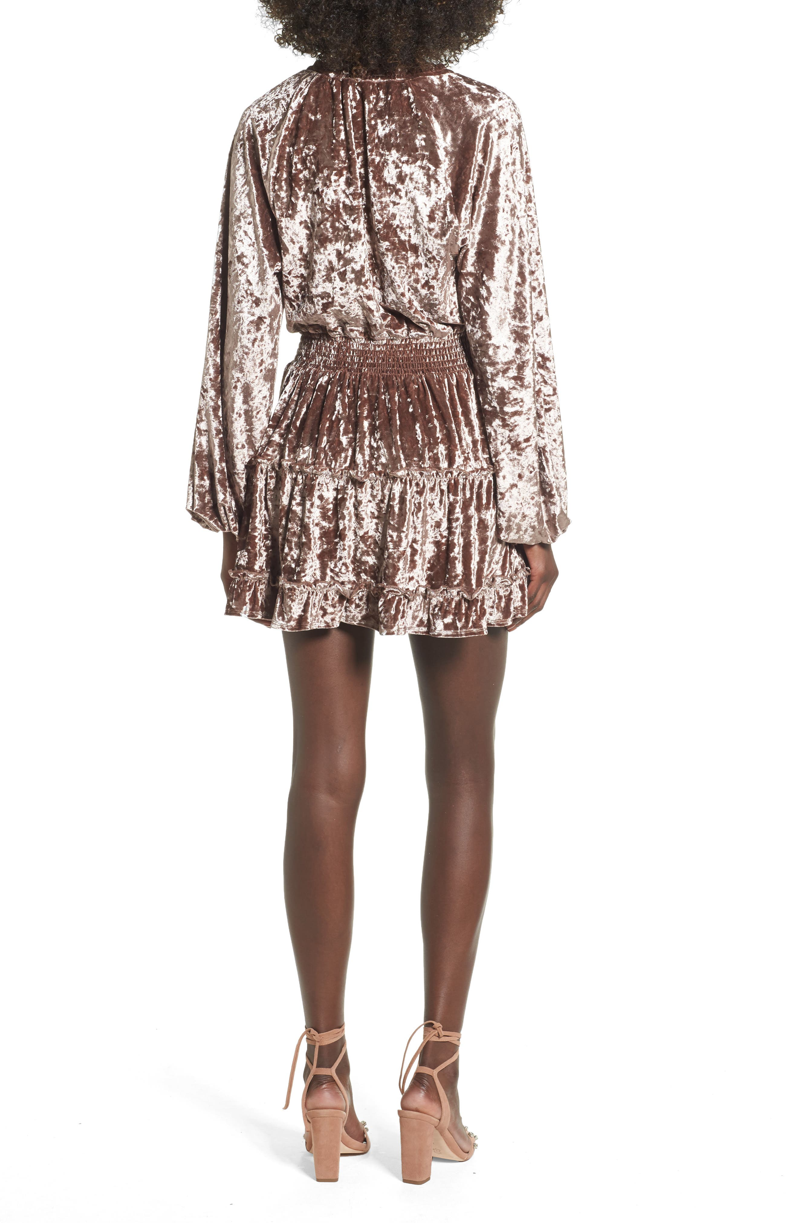 Delaney Crushed Velvet Minidress,                             Alternate thumbnail 2, color,