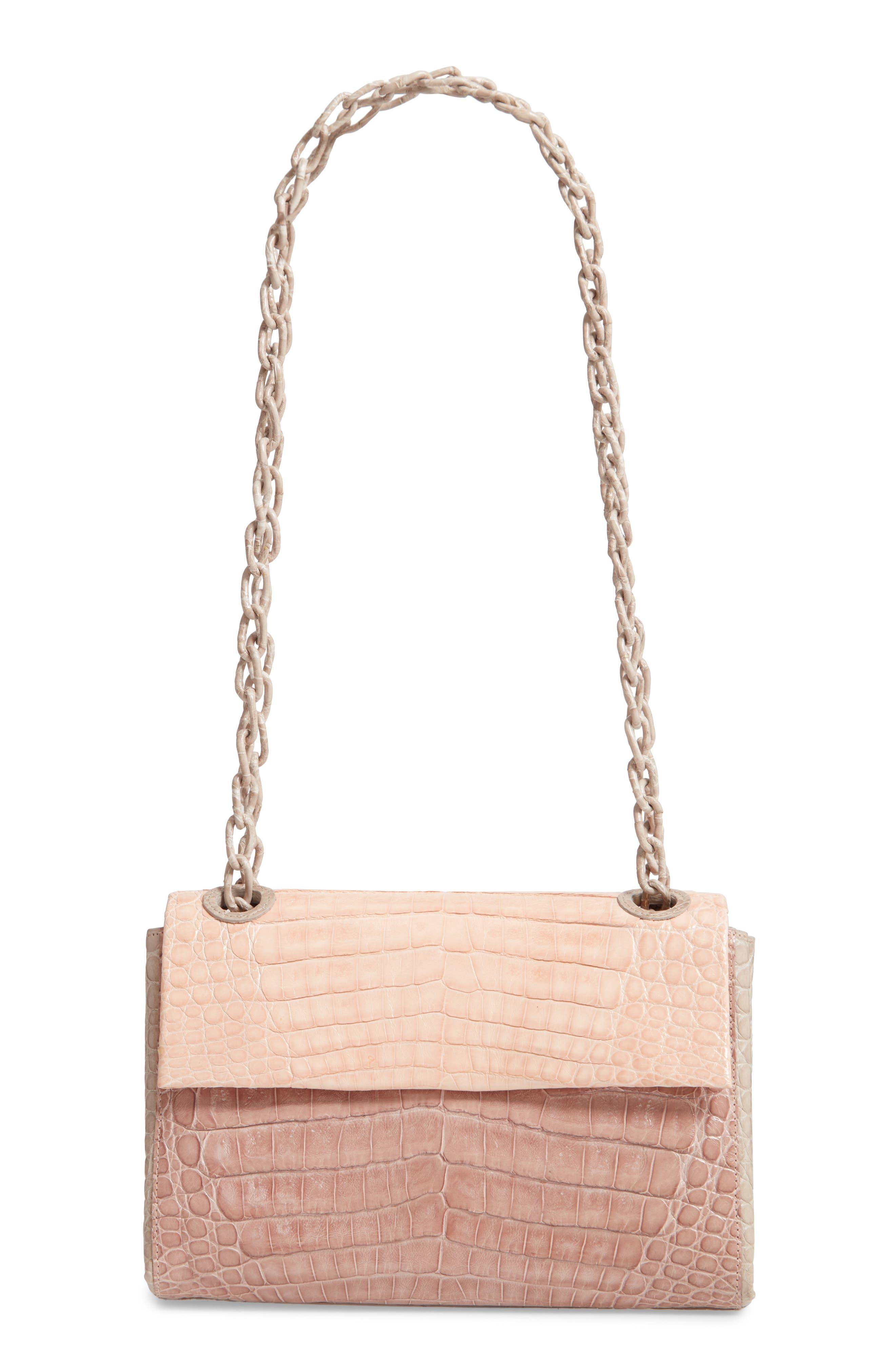 Small Madison Genuine Crocodile Shoulder Bag,                             Main thumbnail 1, color,                             NUDE/ TAUPE/ BLUSH