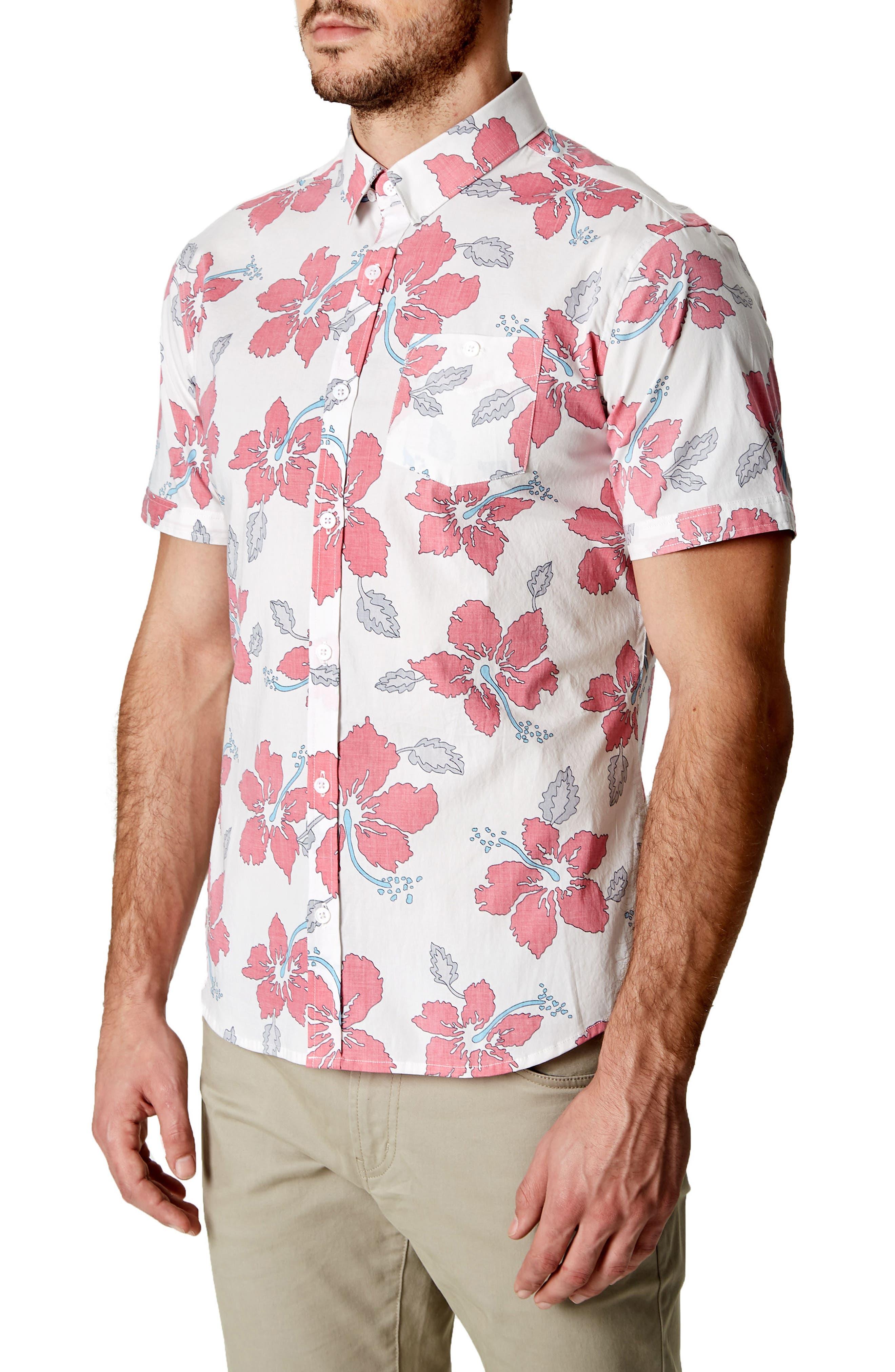 Mind Shaft Trim Fit Floral Sport Shirt,                             Alternate thumbnail 4, color,                             600